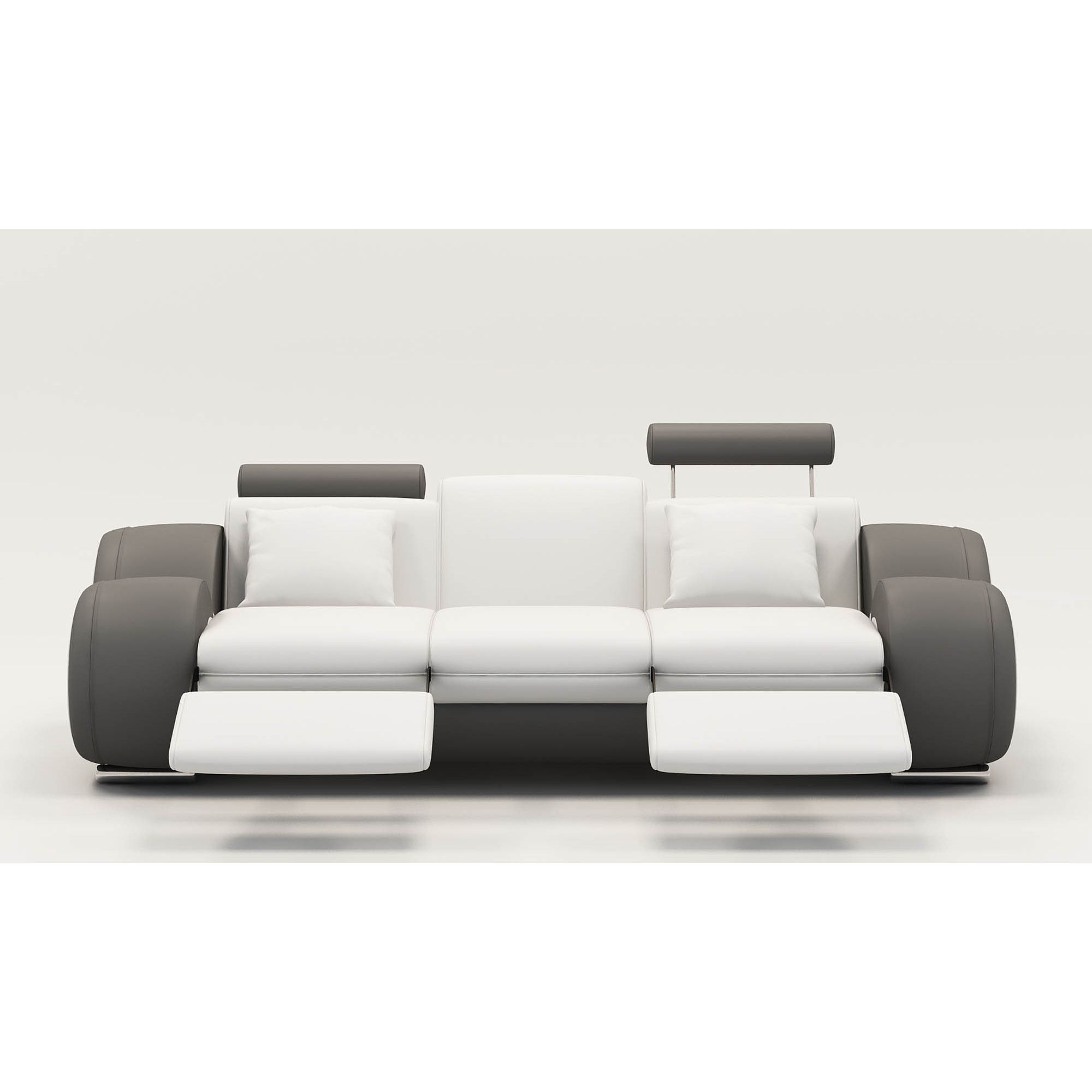Deco in paris 9 canape design 3 places cuir blanc et gris tetieres relax os - Canape blanc 3 places ...