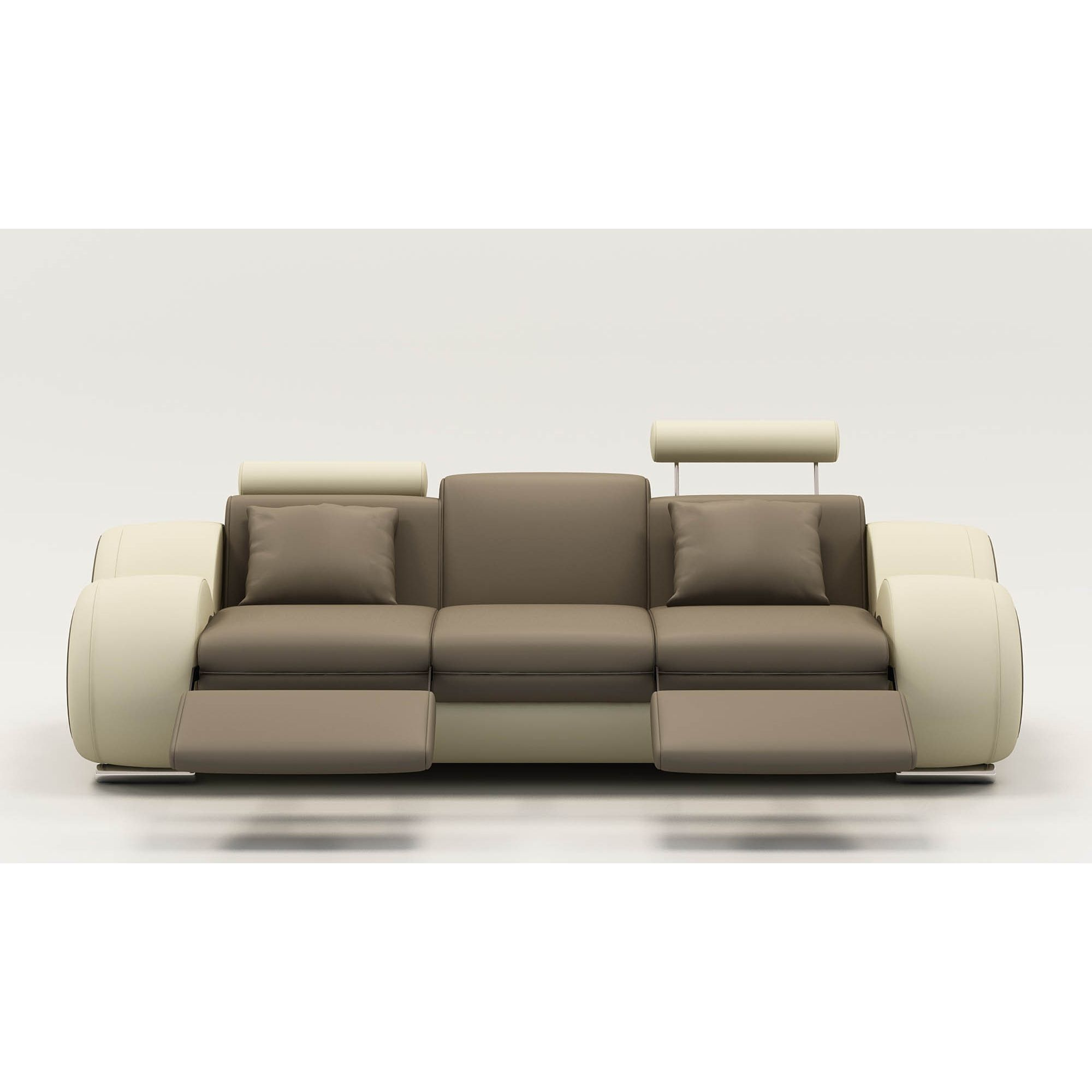 Deco in paris 0 canape design 3 places cuir marron et beige tetieres relax - Canape design 3 places ...