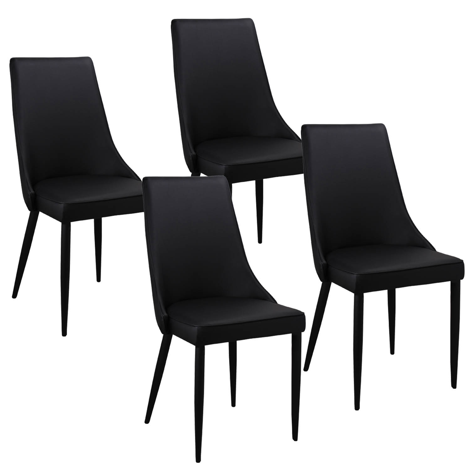 Deco in paris lot de 4 chaises noir avev avev gris noir x4 for Chaise noir design