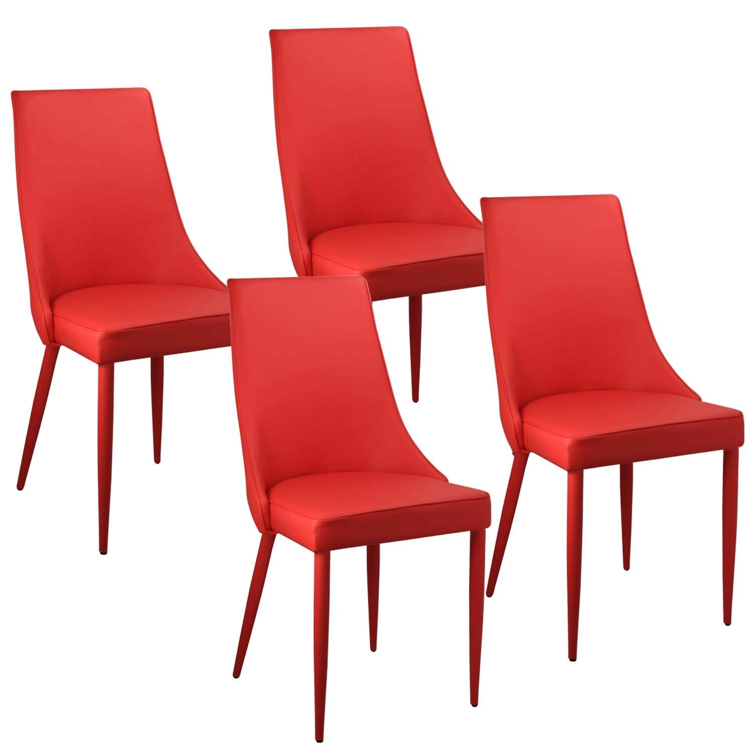Deco in paris lot de 4 chaises rouge avev avev rouge x4 for Lot 4 chaises