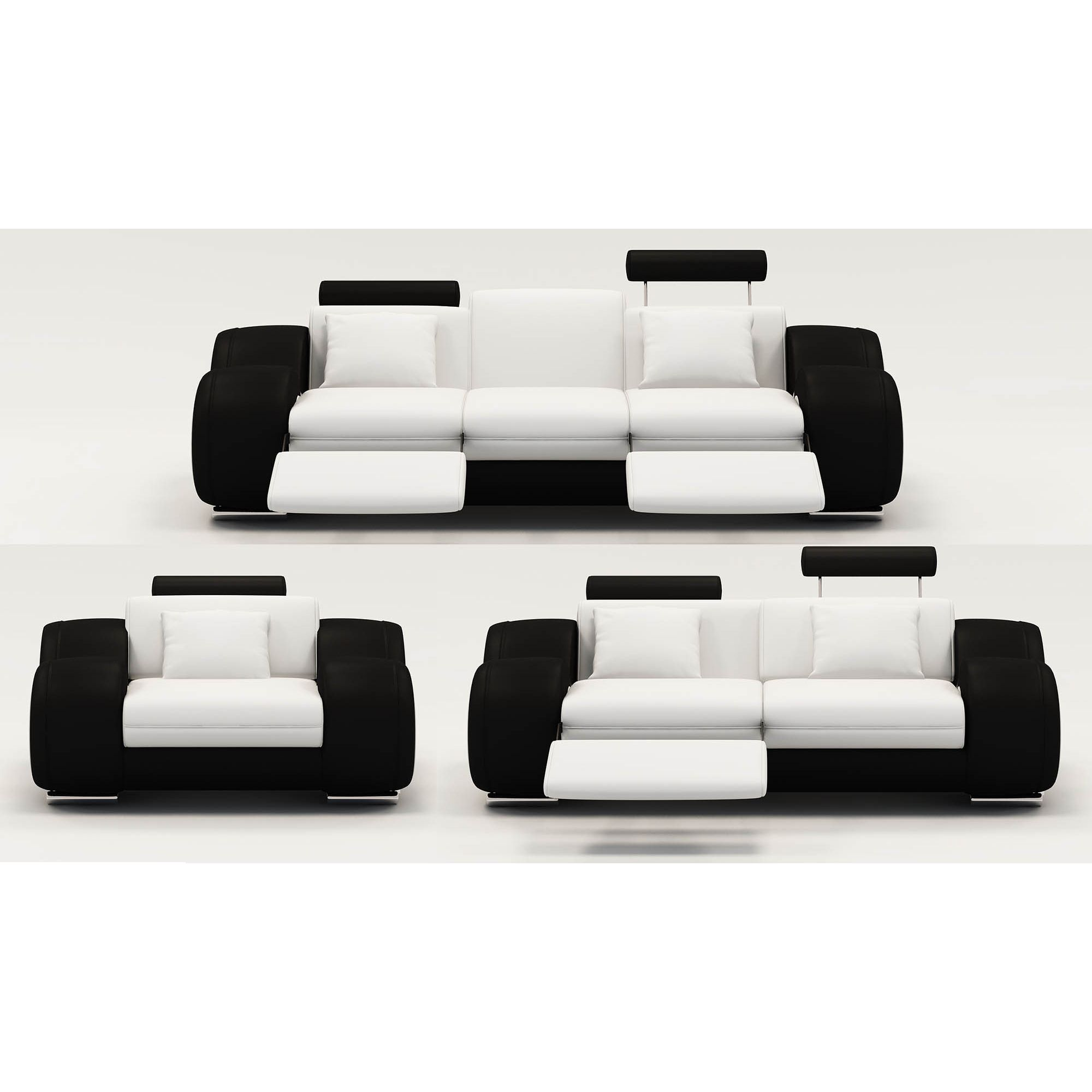 Deco in paris ensemble canape relax design 3 2 places blanc et noir oslo os - Canape 2 places blanc ...