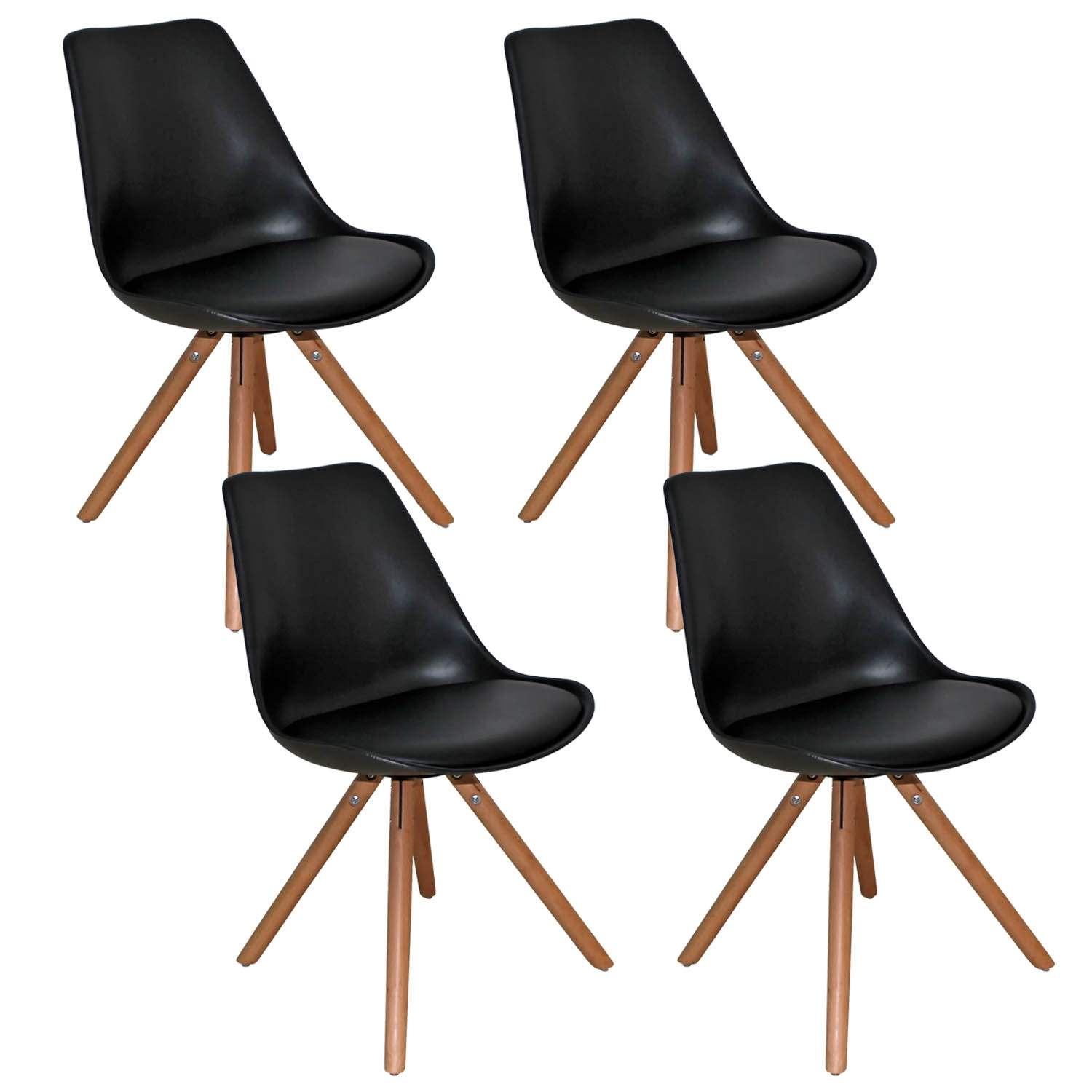 Deco in paris lot de 4 chaises design noir velta velta noir x4 - Chaises sejour design ...