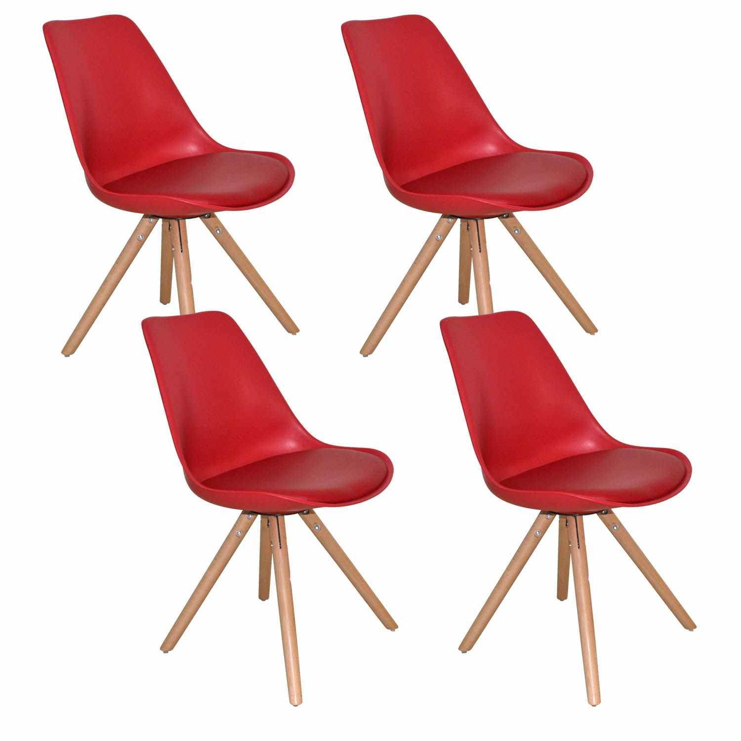 Deco in paris lot de 4 chaises design rouge velta velta - Lot de 4 chaises design ...