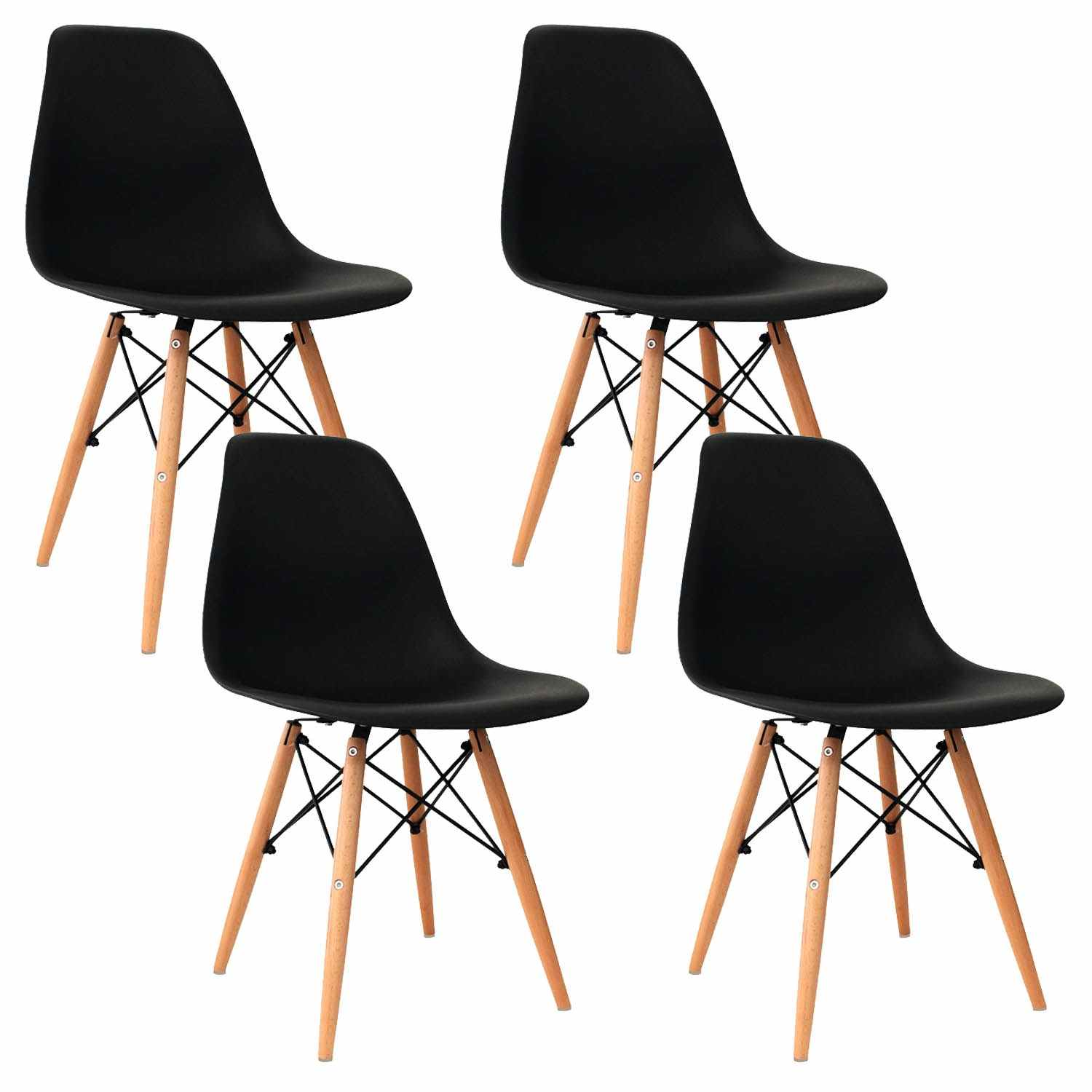 Deco in paris lot de 4 chaises design noir nina nina x4 noir for Lot 4 chaises