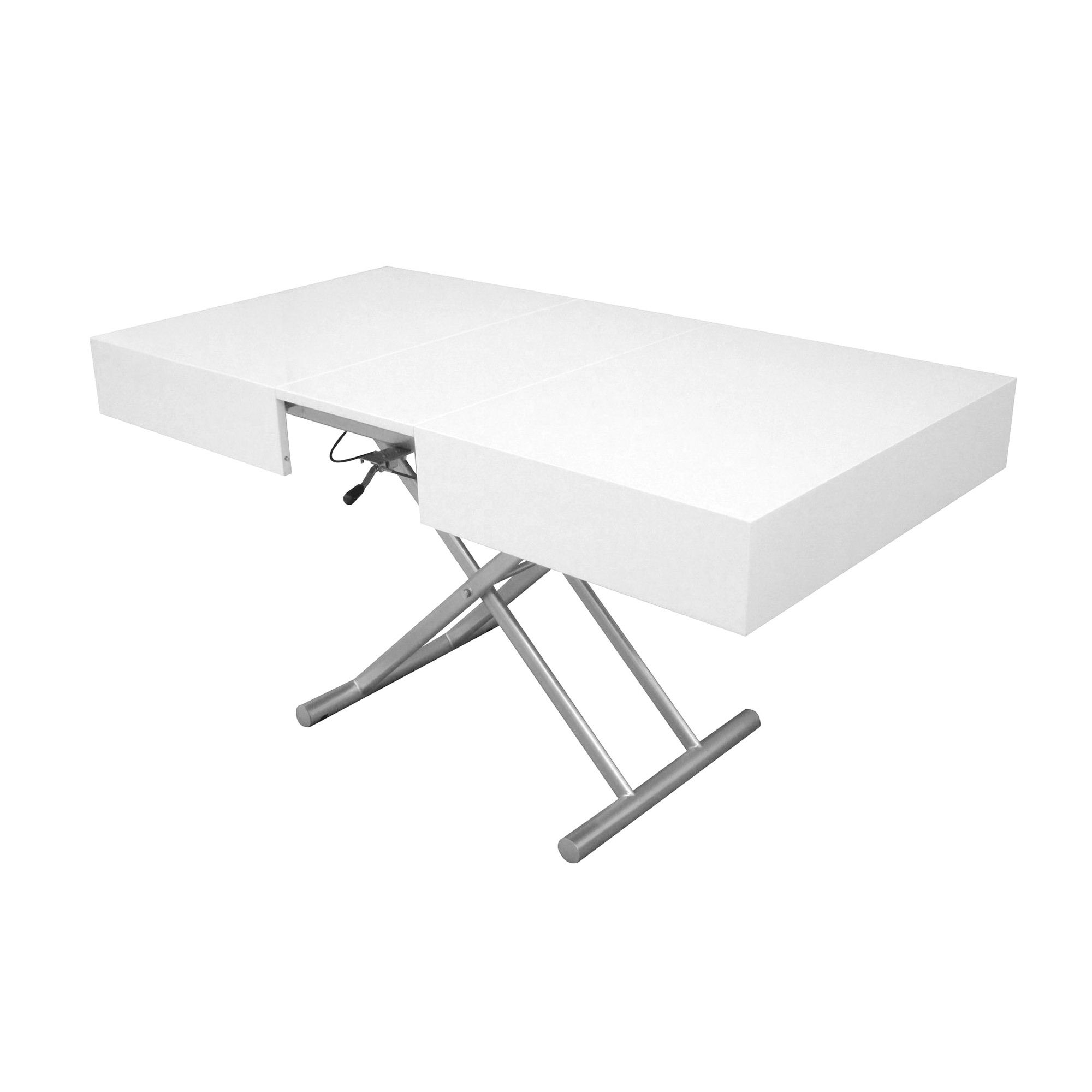 3fa9f02c11536 DECO IN PARIS - Table basse relevable extensible blanc laque smart ...