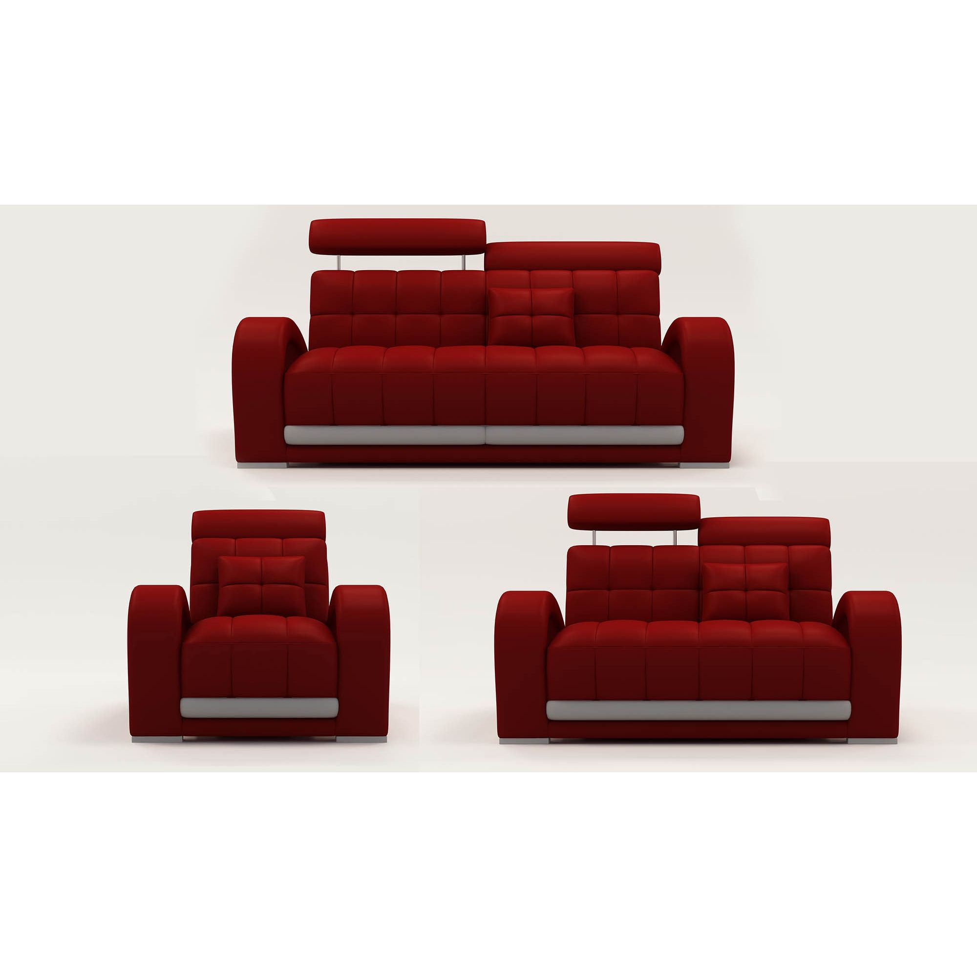 Deco in paris ensemble canape cuir verdi 3 1 1 places rouge et gris 2232 ro - Canape cuir rouge 3 places ...