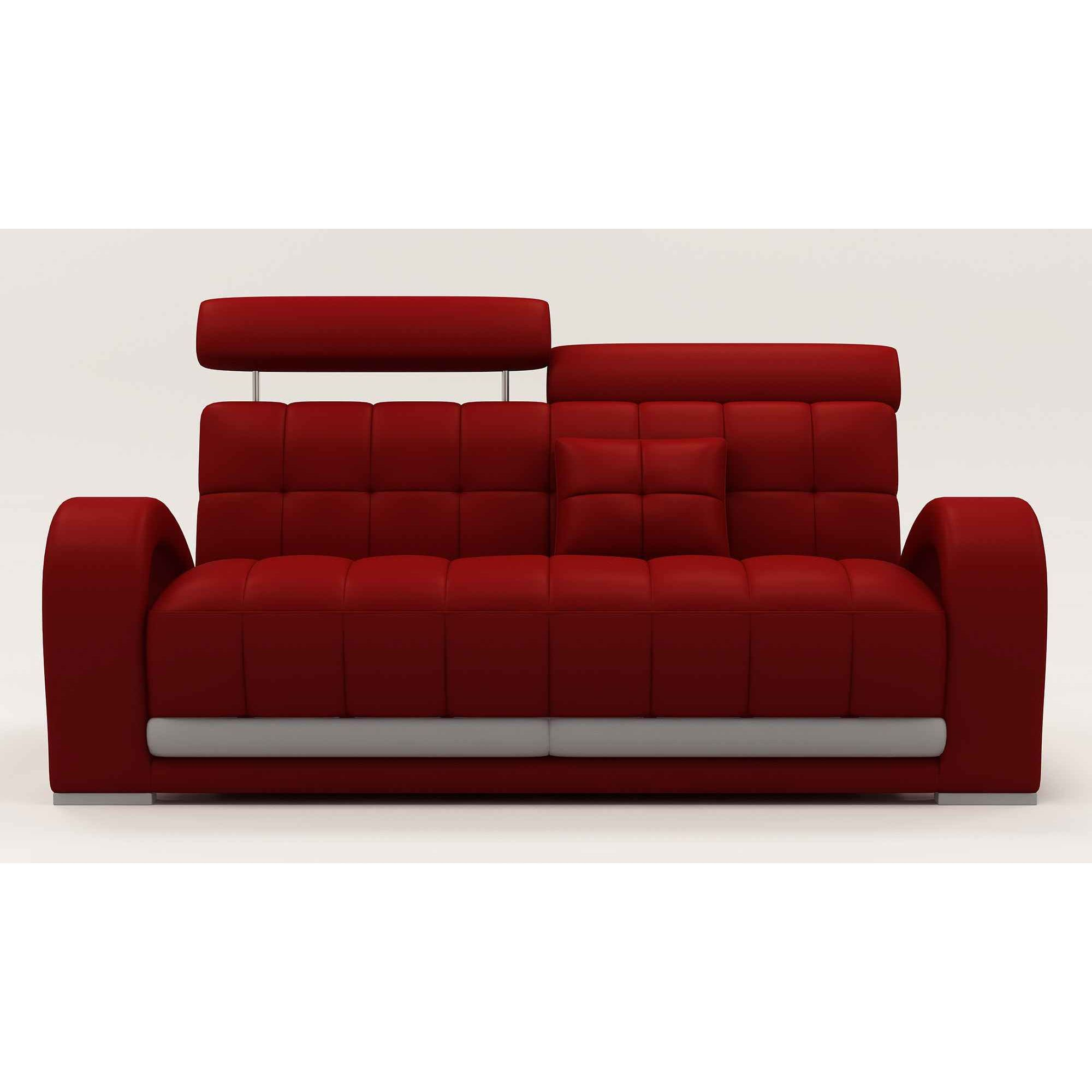 Deco in paris canape cuir rouge 3 places verdi can verdi 3p pu rouge - Canape cuir 3 places ...