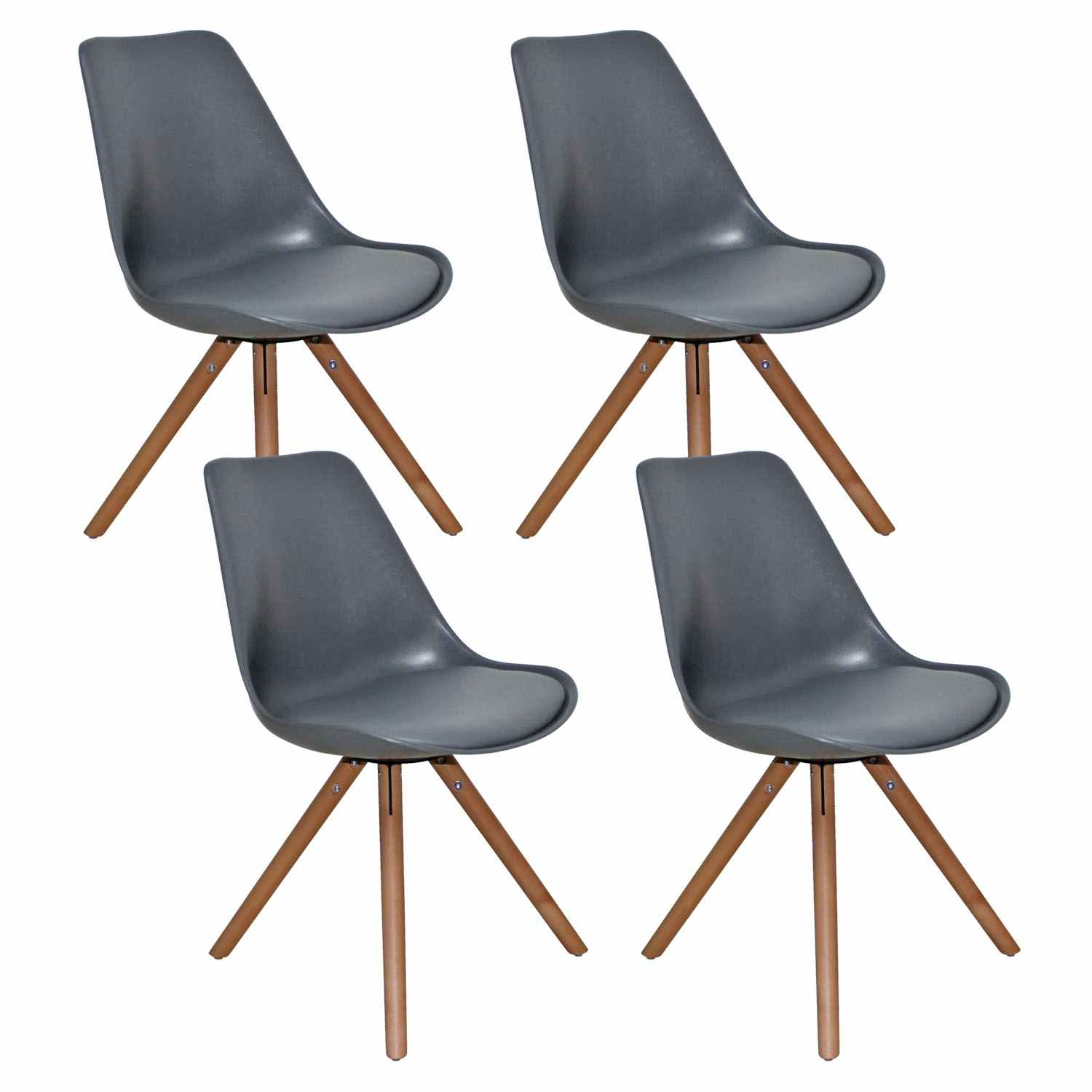 Deco in paris lot de 4 chaises design gris velta velta for Lot 4 chaises