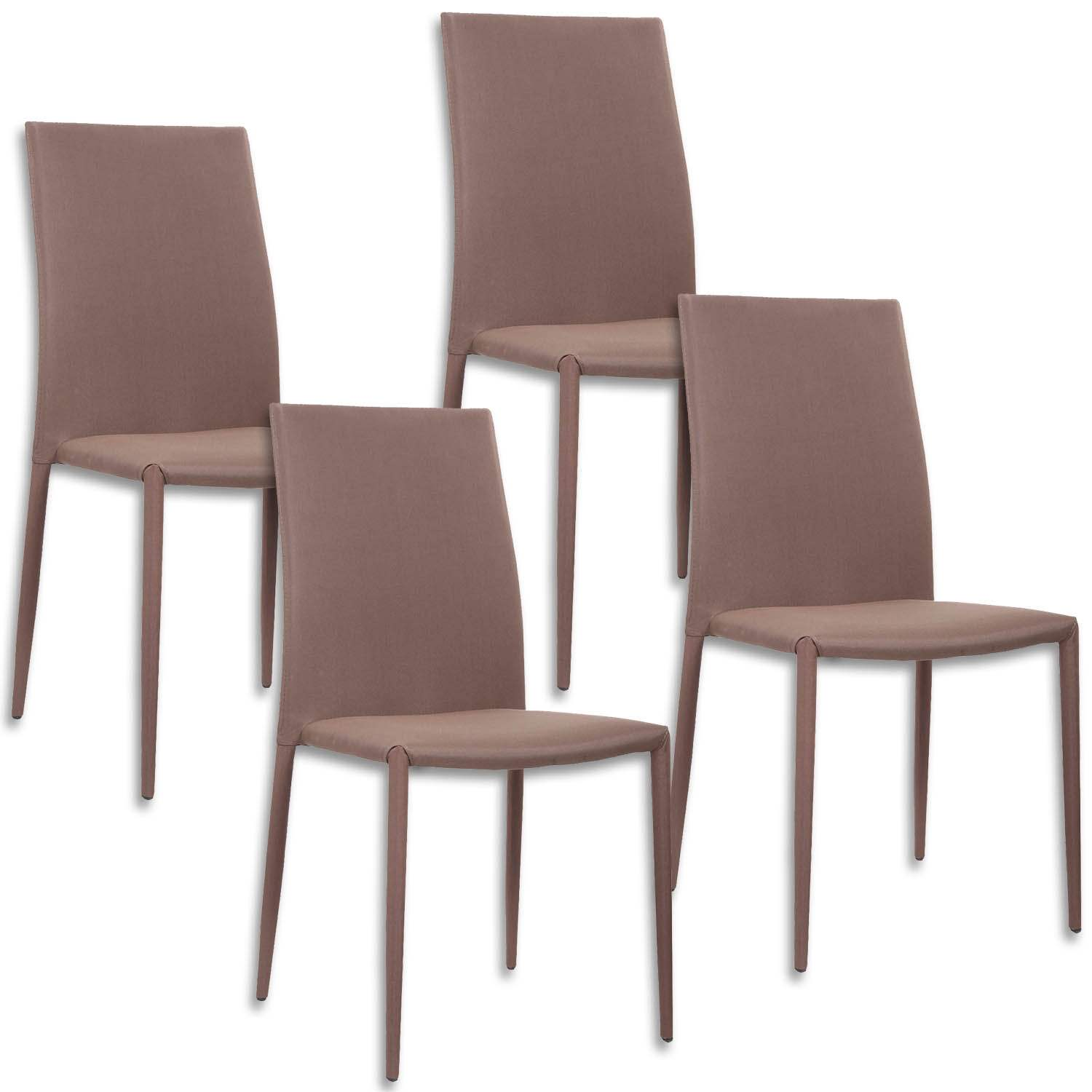 Deco in paris lot de 4 chaises marron lola lotx4 marron lola for Lot 4 chaises