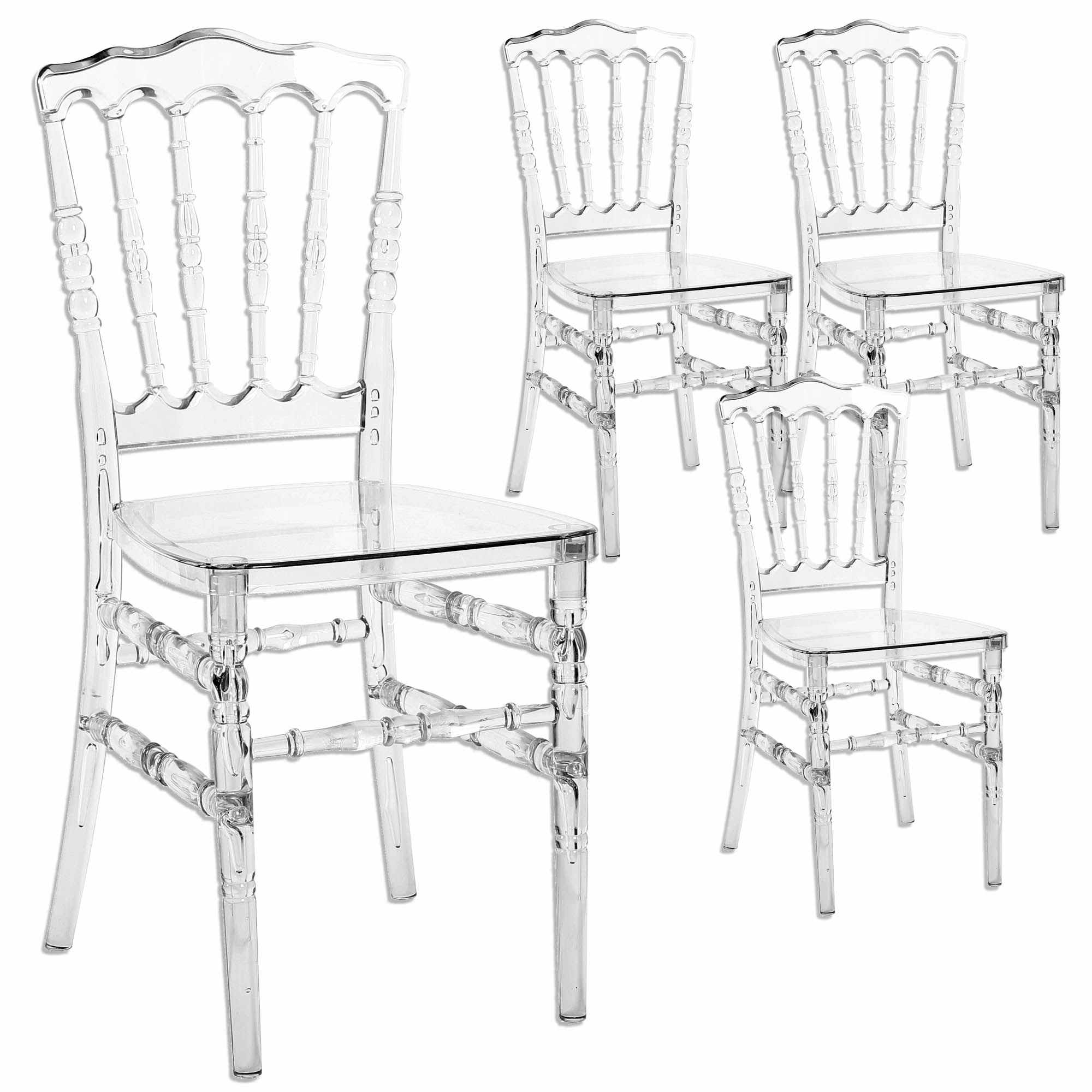 Deco in paris lot de 4 chaises transparent en plexi - 4 chaises pas cher ...