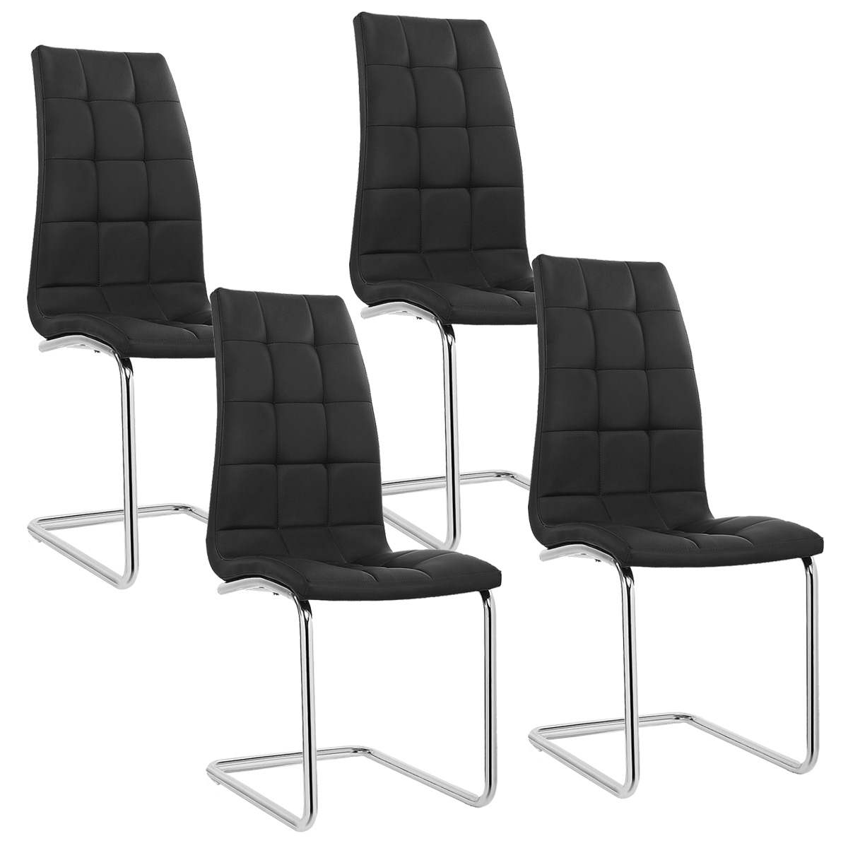Deco in paris lot de 4 chaises noir design matelasse for Chaise noir design