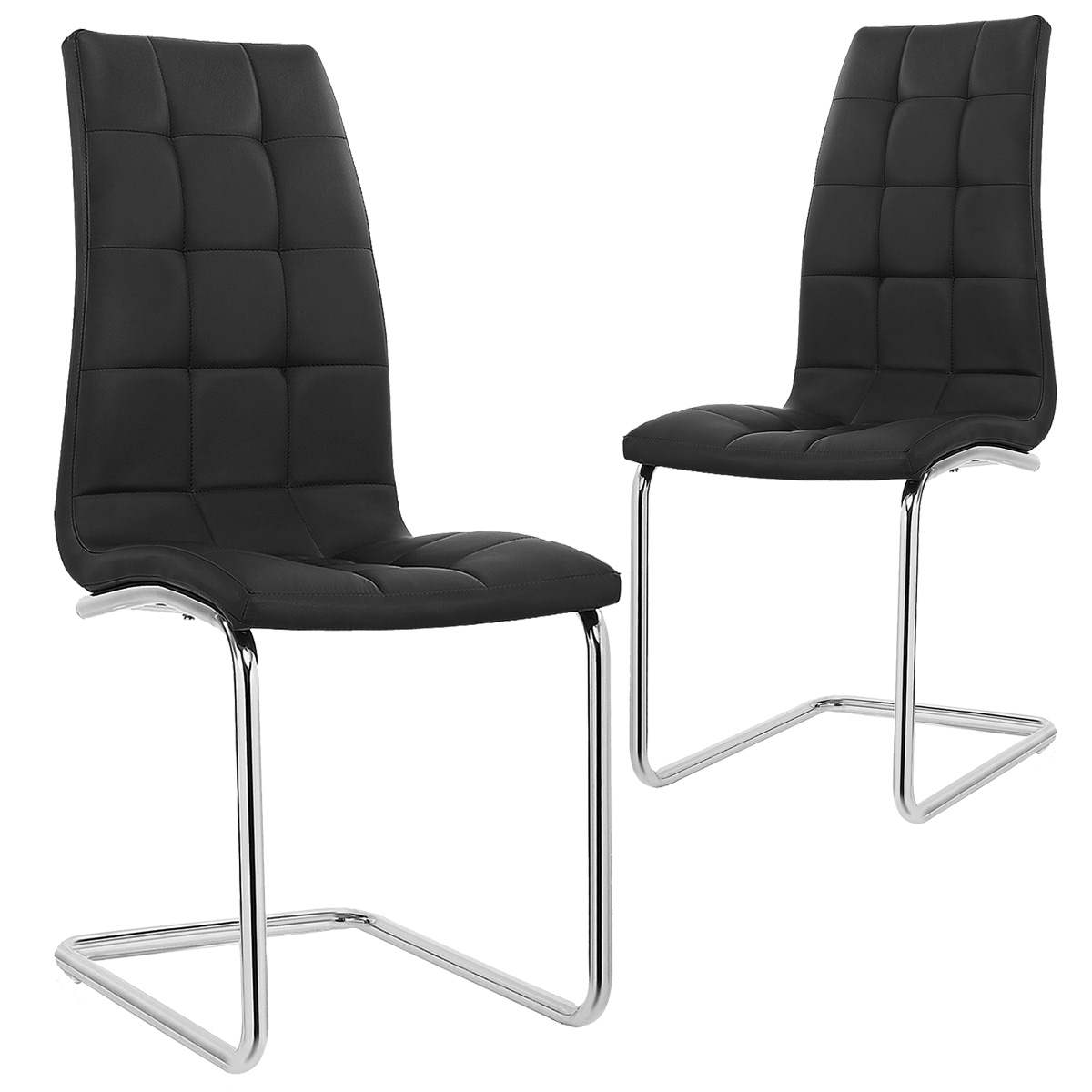 Deco in paris lot de 2 chaises noir design matelasse for Chaise noir design