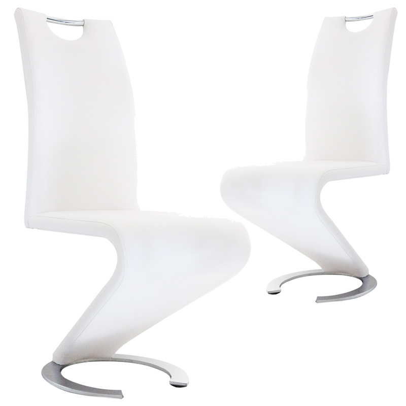 LOT DE 2 CHAISES BLANC DESIGN HUGO