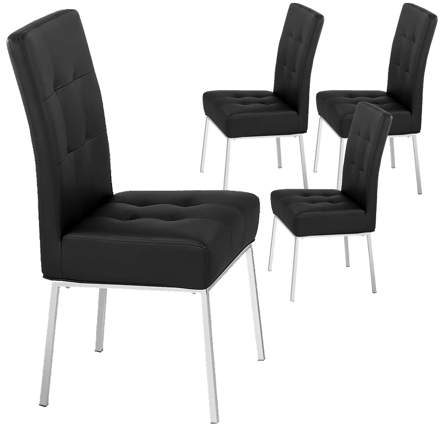 Deco in paris lot de 4 chaises noir baroko baroko x4 noir for Lot 4 chaises