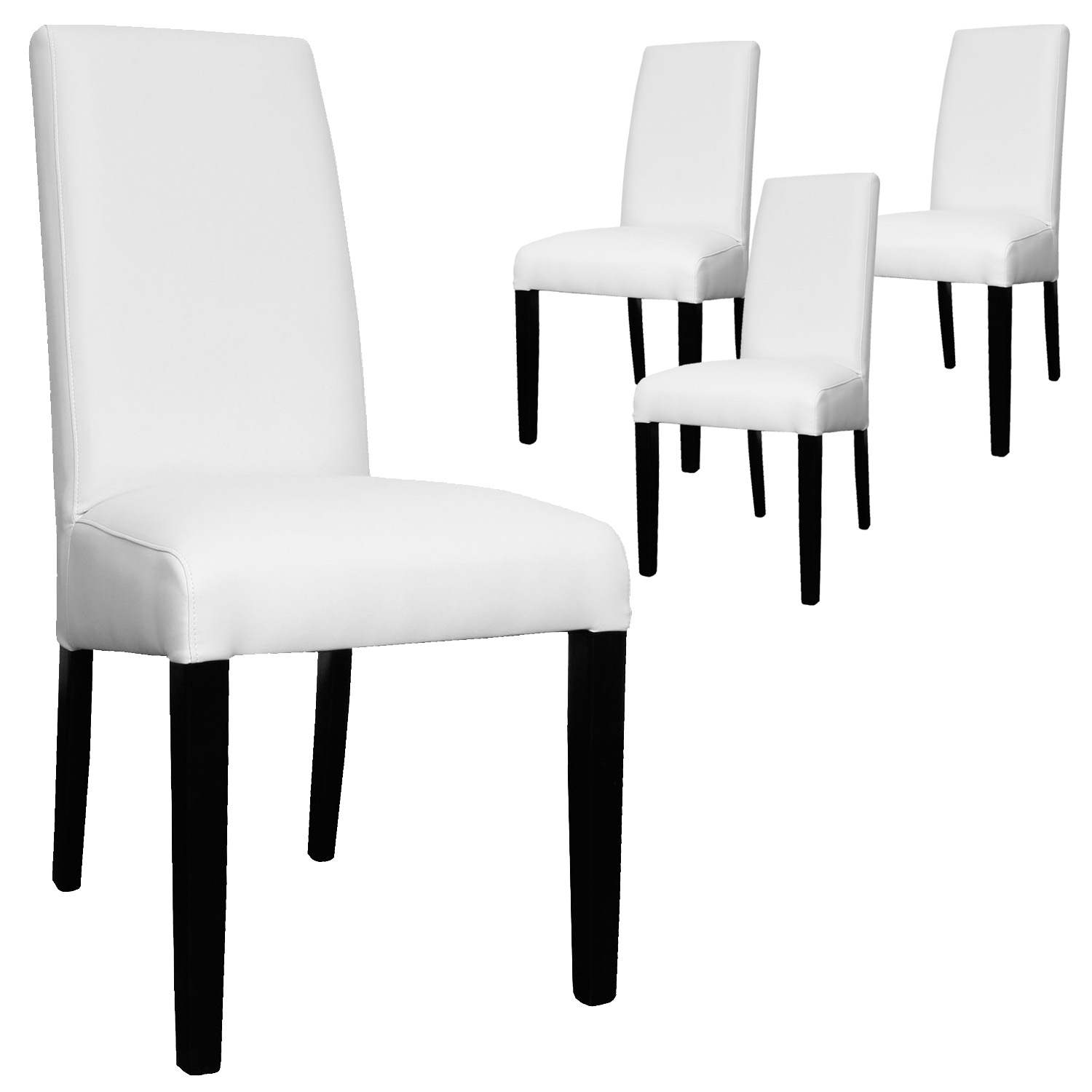 Deco in paris lot de 4 chaises blanche muka muka x4 blanc for Chaise blanche pied noir