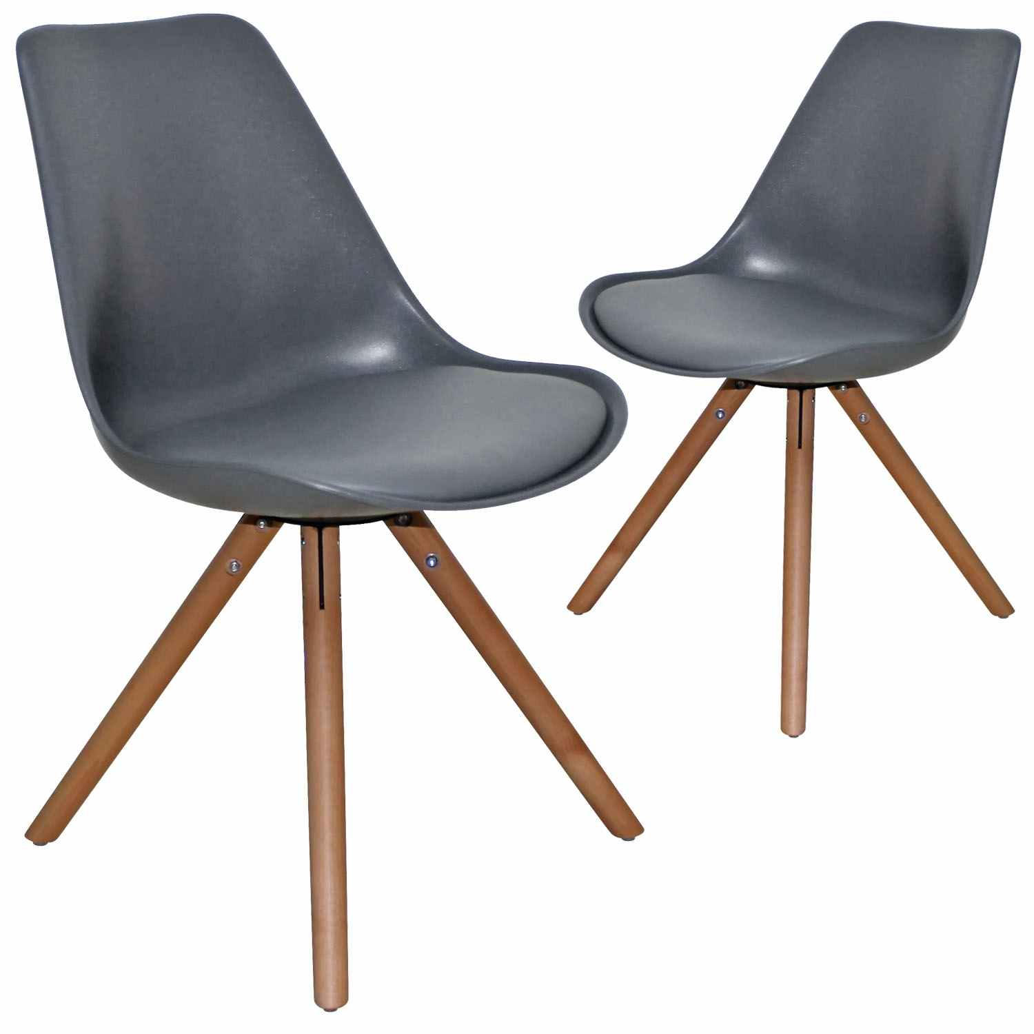Deco in paris 4 lot de 2 chaises design gris velta velta - Chaises design grises ...