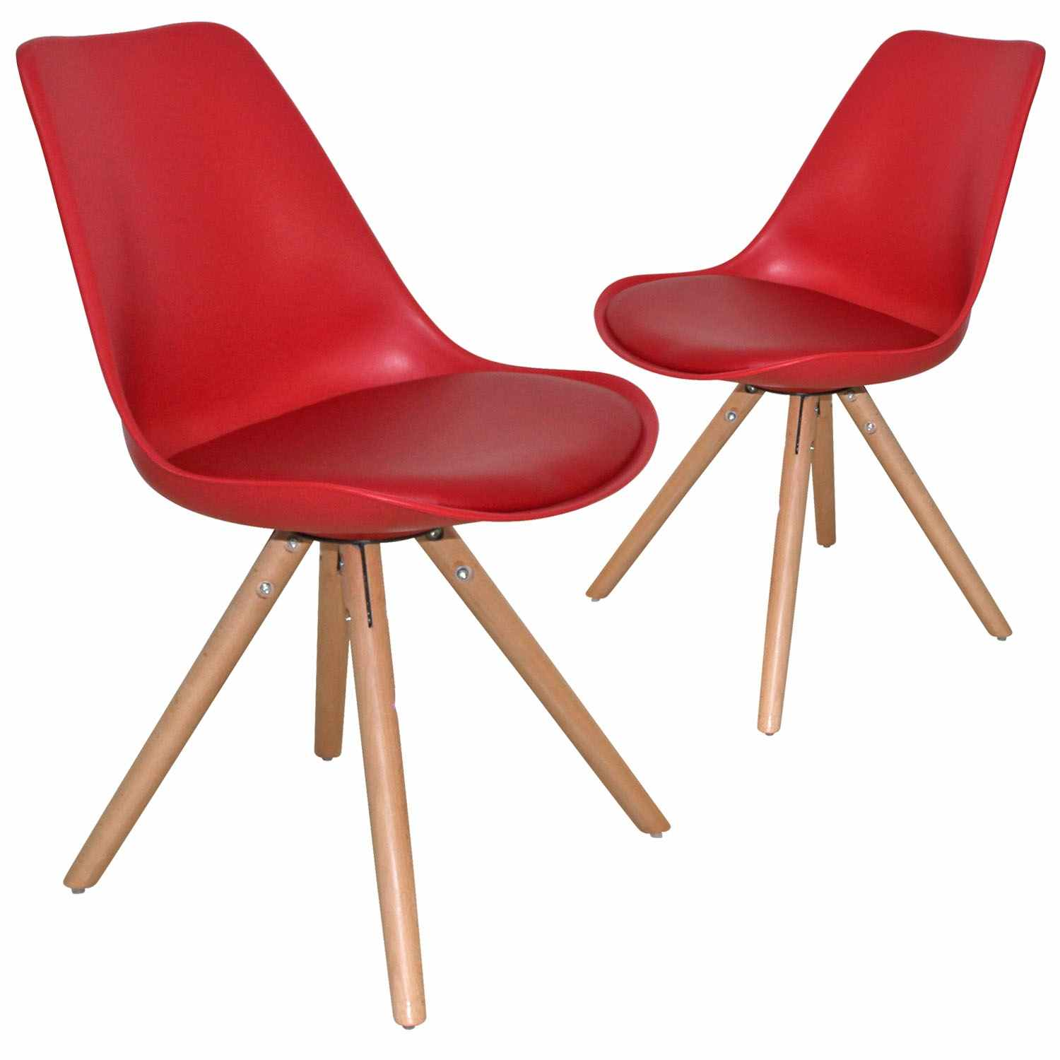 Deco in paris 6 lot de 2 chaises design rouge velta for Chaise rouge
