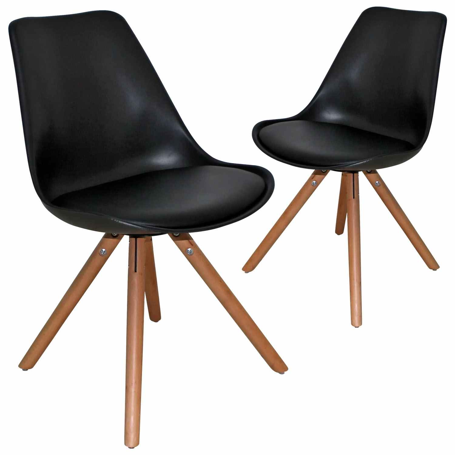 Deco in paris 3 lot de 2 chaises design noir velta velta for Chaise noir design