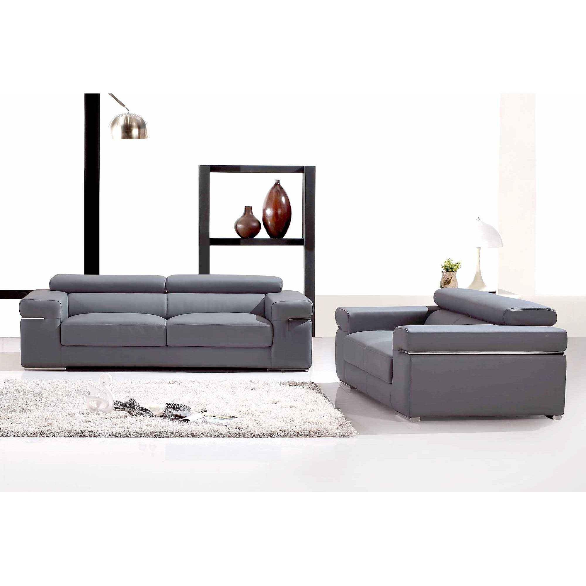 Deco in paris ensemble canape 3 2 places en cuir gris for Canape 3 places gris