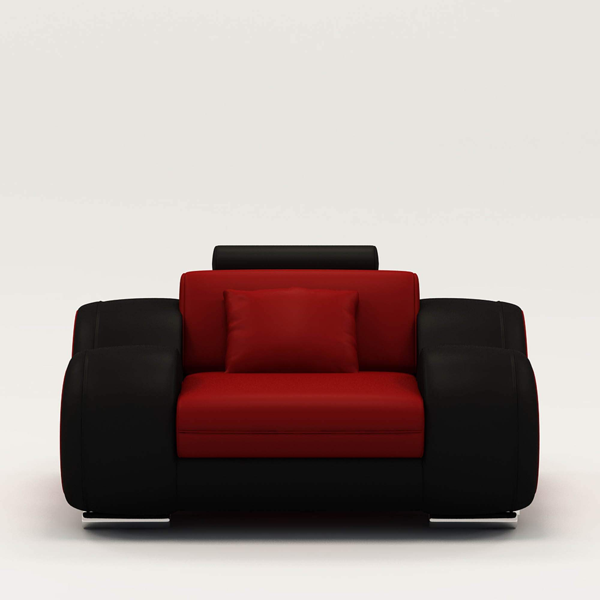 deco in paris 1 fauteuil cuir relax design rouge et noir. Black Bedroom Furniture Sets. Home Design Ideas