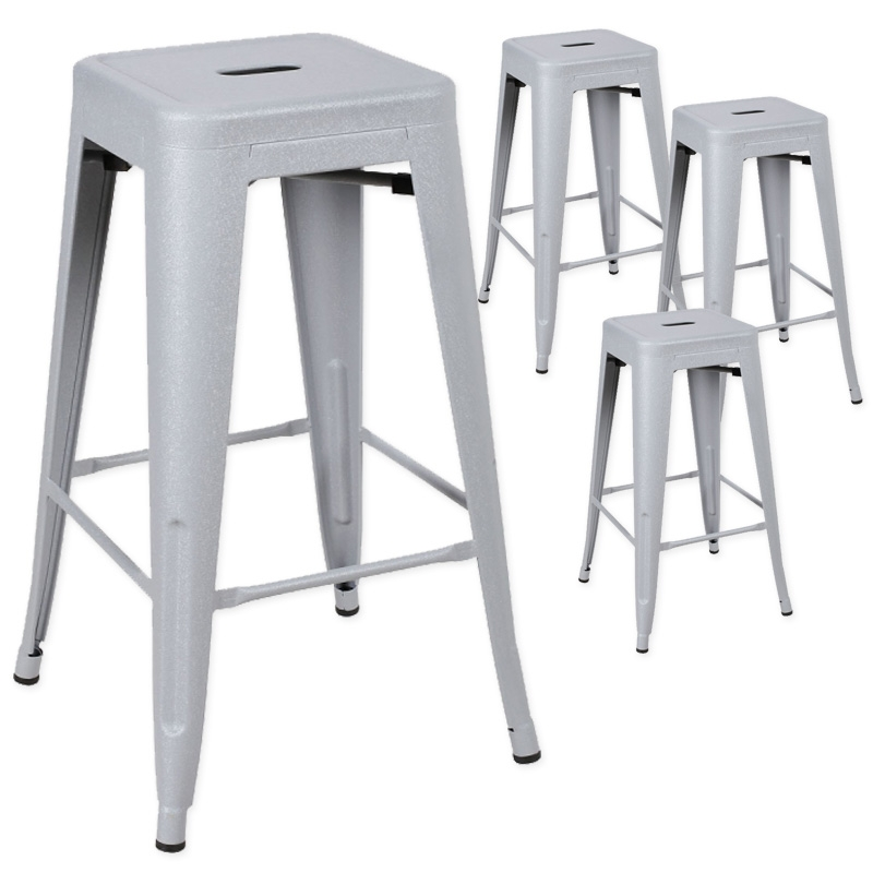 deco in paris tabouret de bar en metal gris laque king lot de 4 tabouret x4 fer king gris. Black Bedroom Furniture Sets. Home Design Ideas