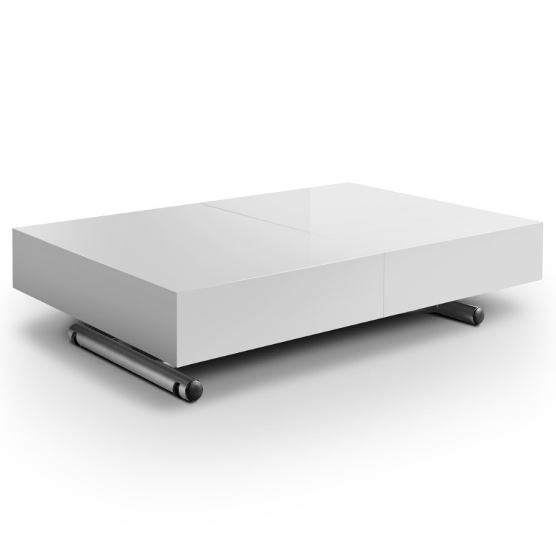 Deco in paris table basse relevable extensible blanche laquee smart tab rel - Table de salon relevable et extensible ...