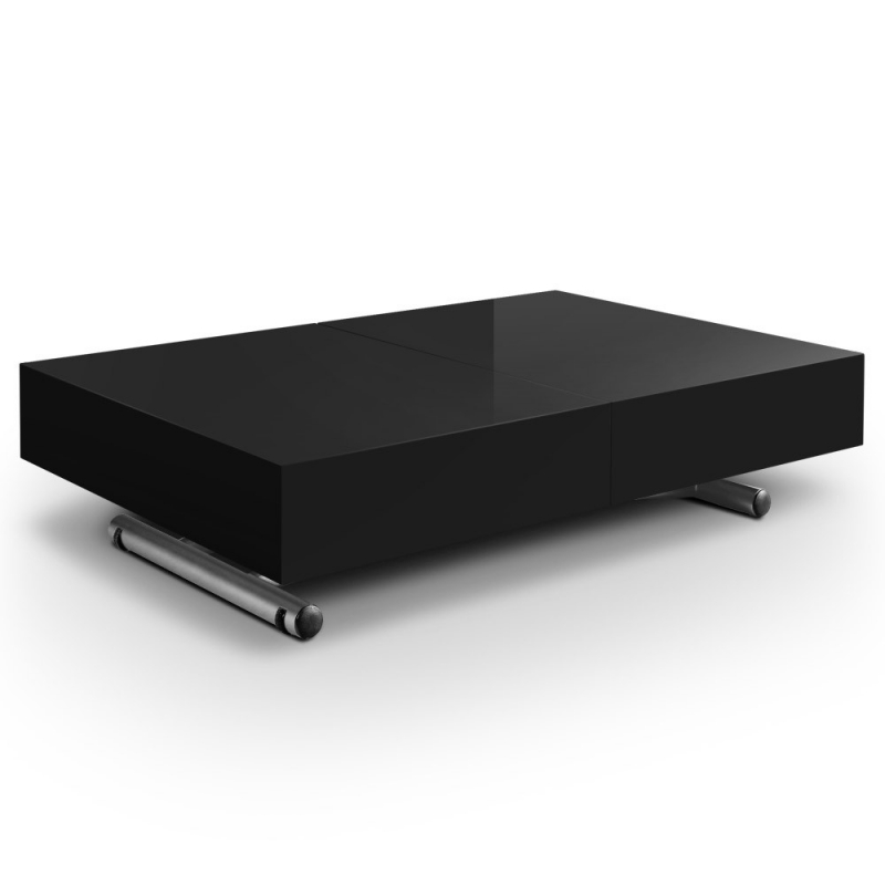 Table basse rectangle laquee next noir - Table basse laquee noire ...