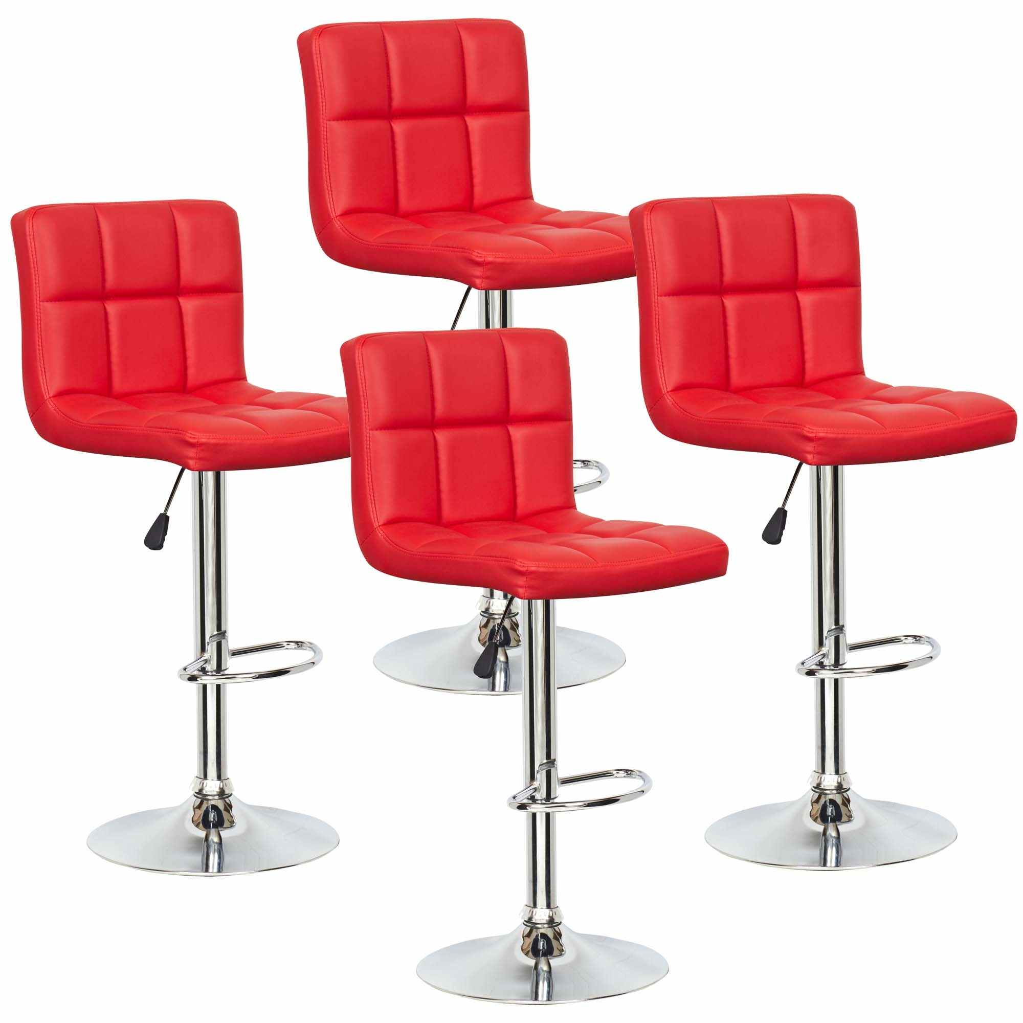 Deco in paris lot de 4 tabourets de bar rouge scalo tab rouge lot4 scalo - Tabouret de bar design rouge ...
