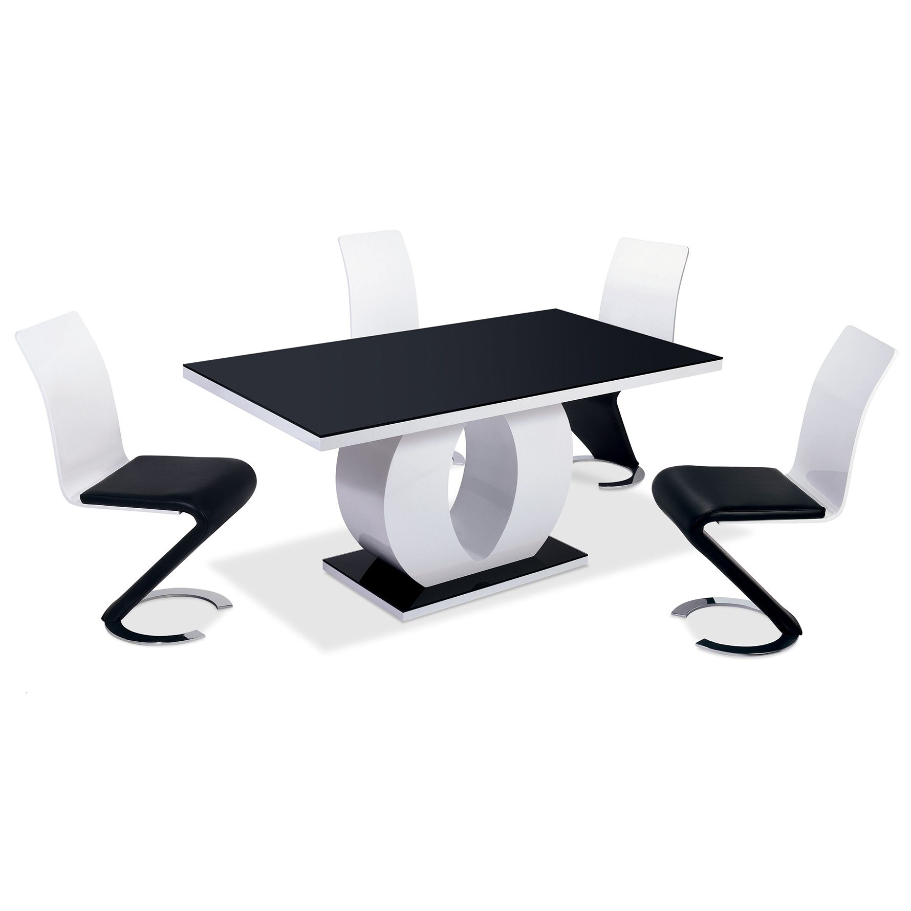 Deco in paris 2 table oamaru 4 chaises design noir et - Table et chaise noir et blanc ...