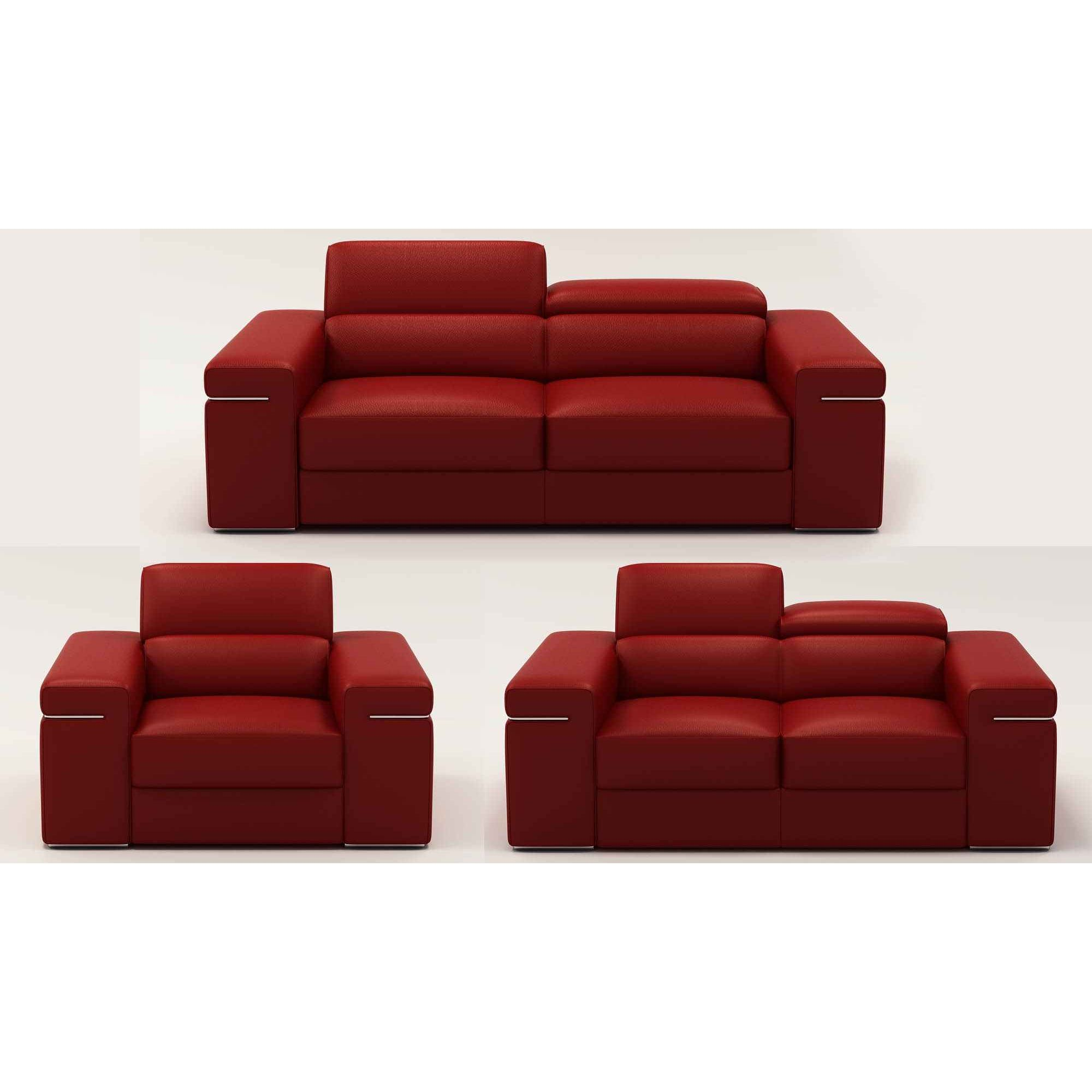 Deco in paris ensemble canape 3 2 1 places en cuir rouge for Canape largeur 140