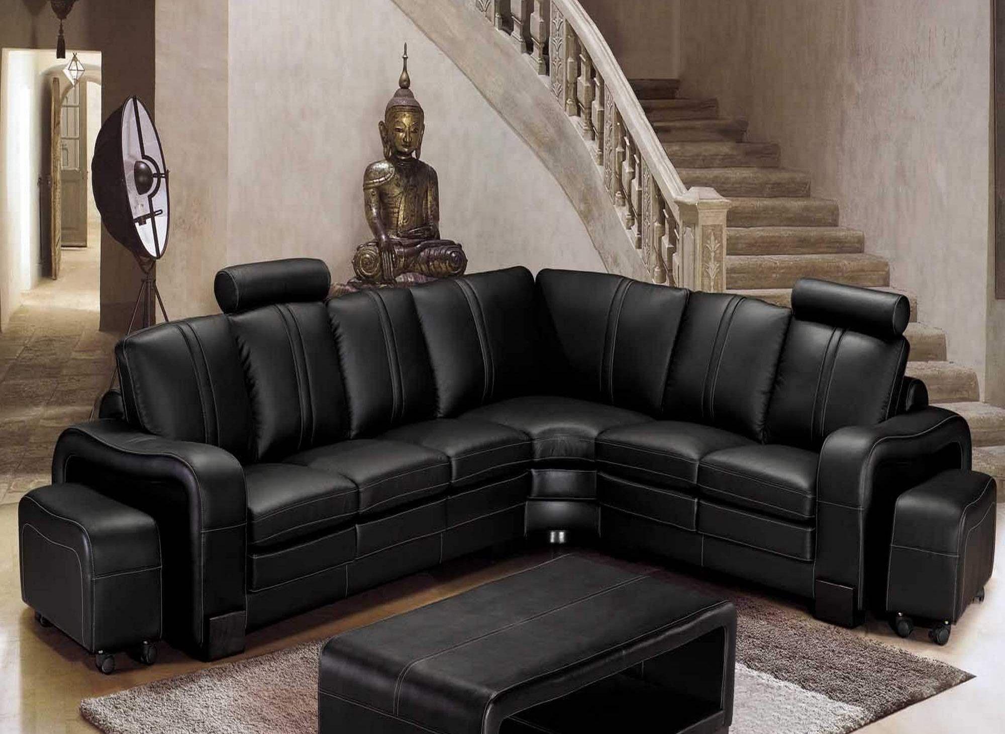 Canapé d'angle relax cuir noir HAVANE - Angle droit