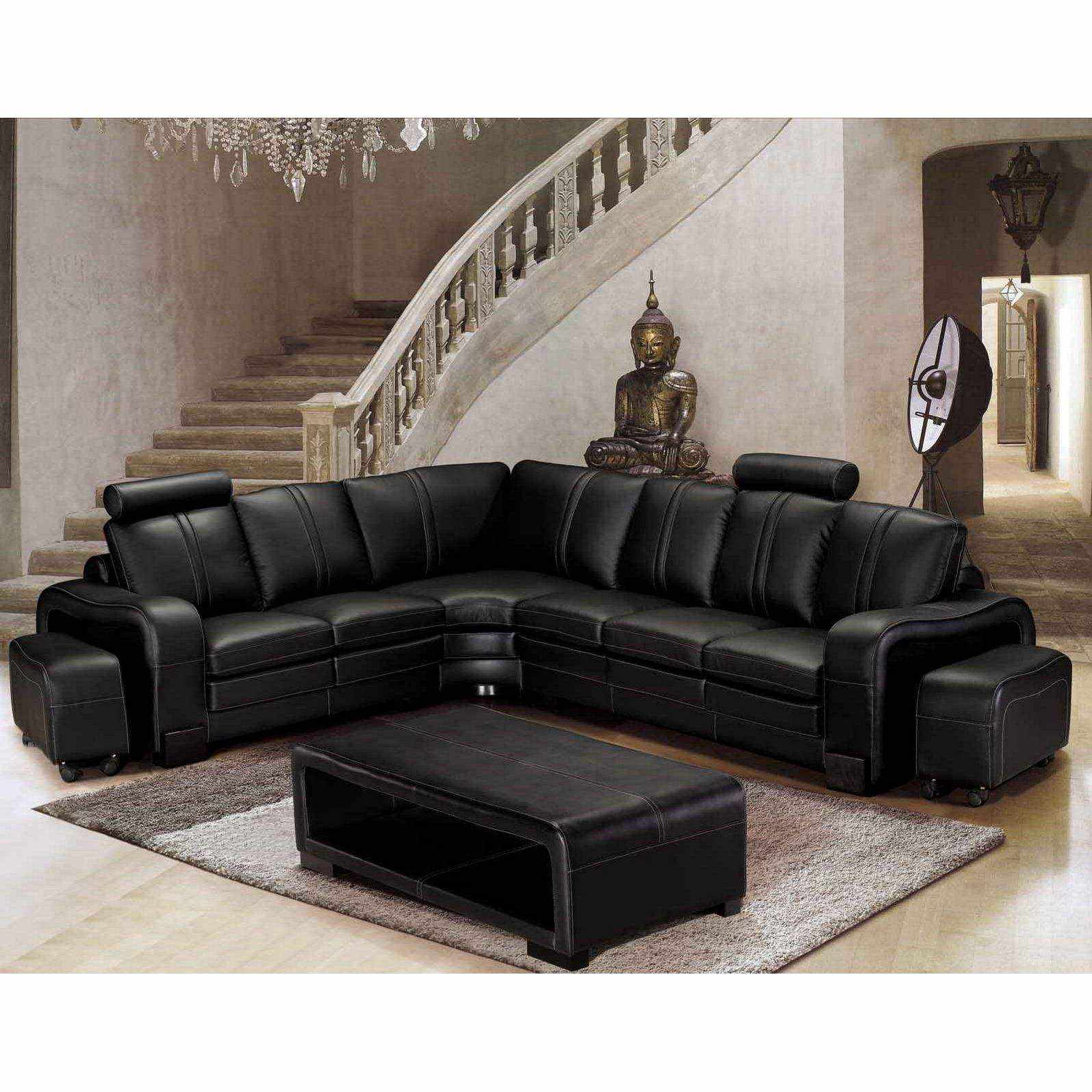deco in paris canape d angle en cuir noir avec tetieres relax havane angle gauche can. Black Bedroom Furniture Sets. Home Design Ideas