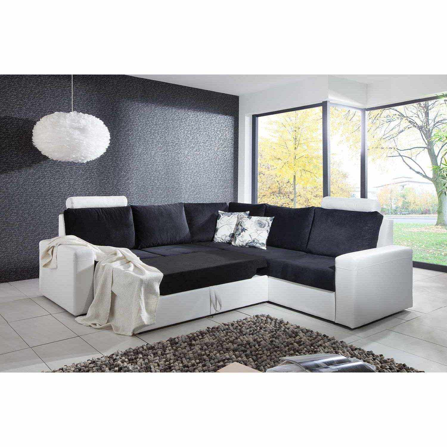 deco in paris canape d angle convertible noir et blanc. Black Bedroom Furniture Sets. Home Design Ideas