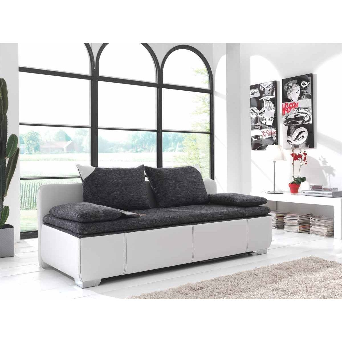 Deco in paris 2 canape 3 places convertible noir et blanc willy willy noir - Canape 3 places blanc ...