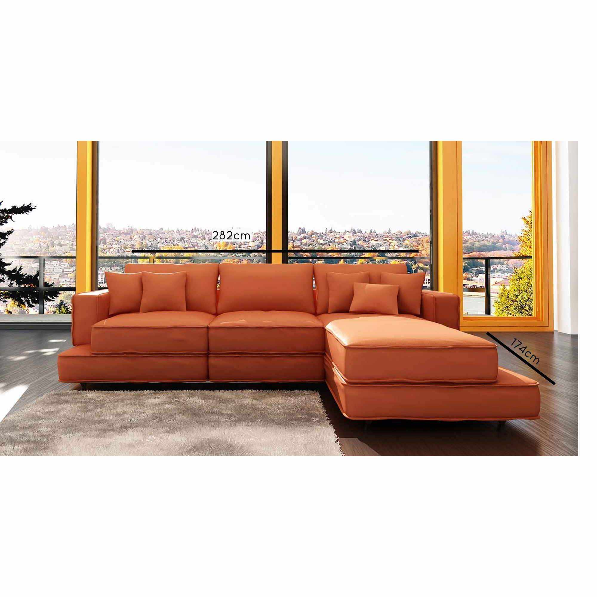 Deco in paris canape d angle en cuir orange vegas vegas - Canape d angle orange ...