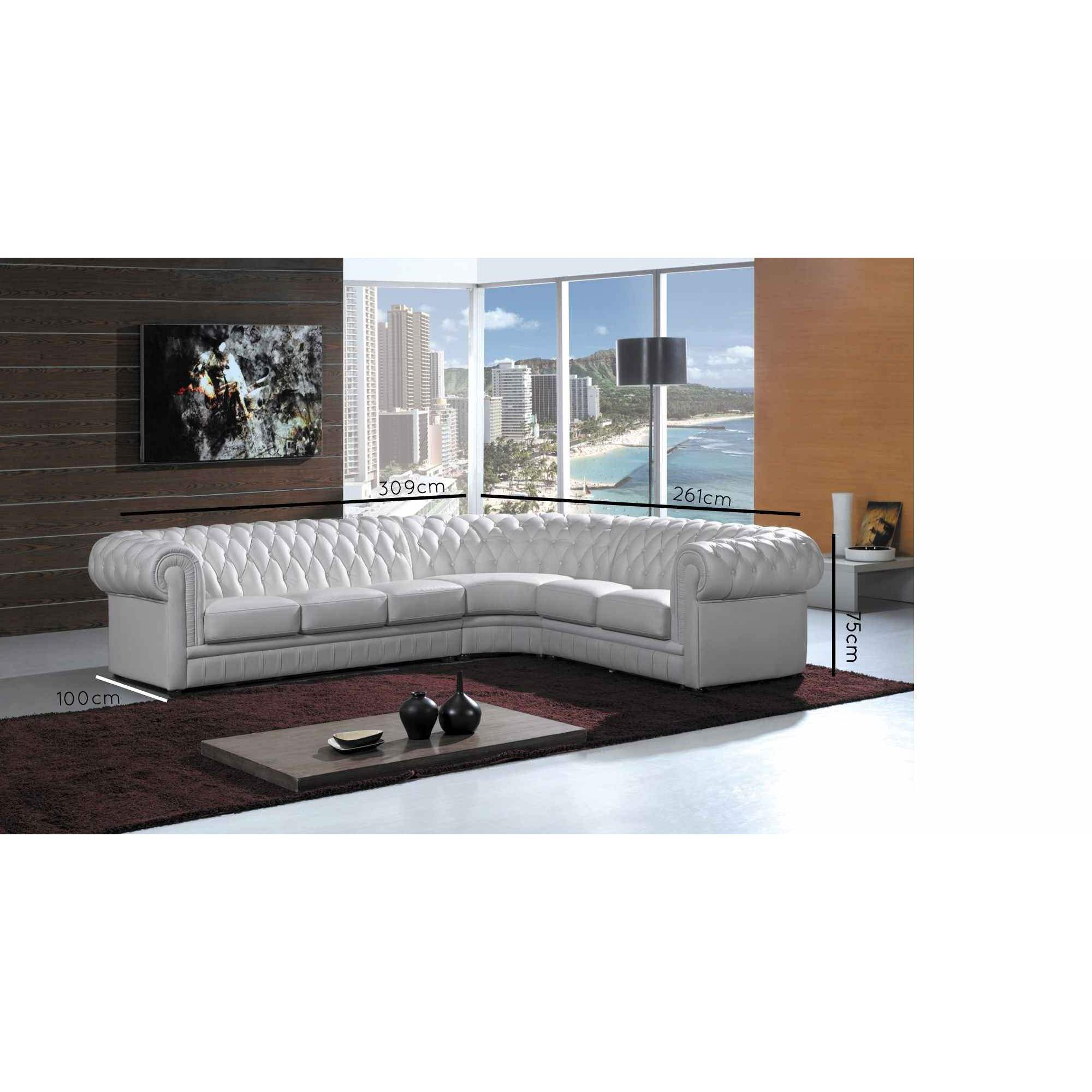 Deco in paris grand canape d angle capitonne blanc for Canape chesterfield cuir blanc
