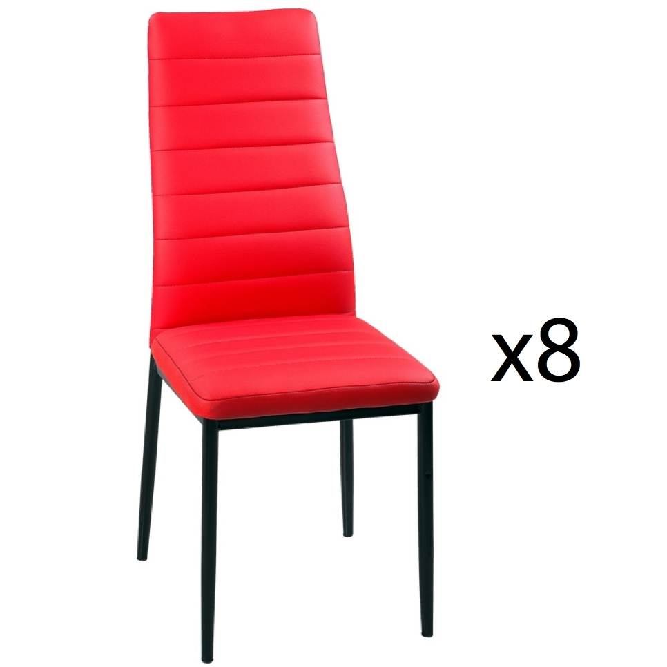 deco in paris lot de 8 chaises rouge iris lot 8 chaises rouge iris. Black Bedroom Furniture Sets. Home Design Ideas