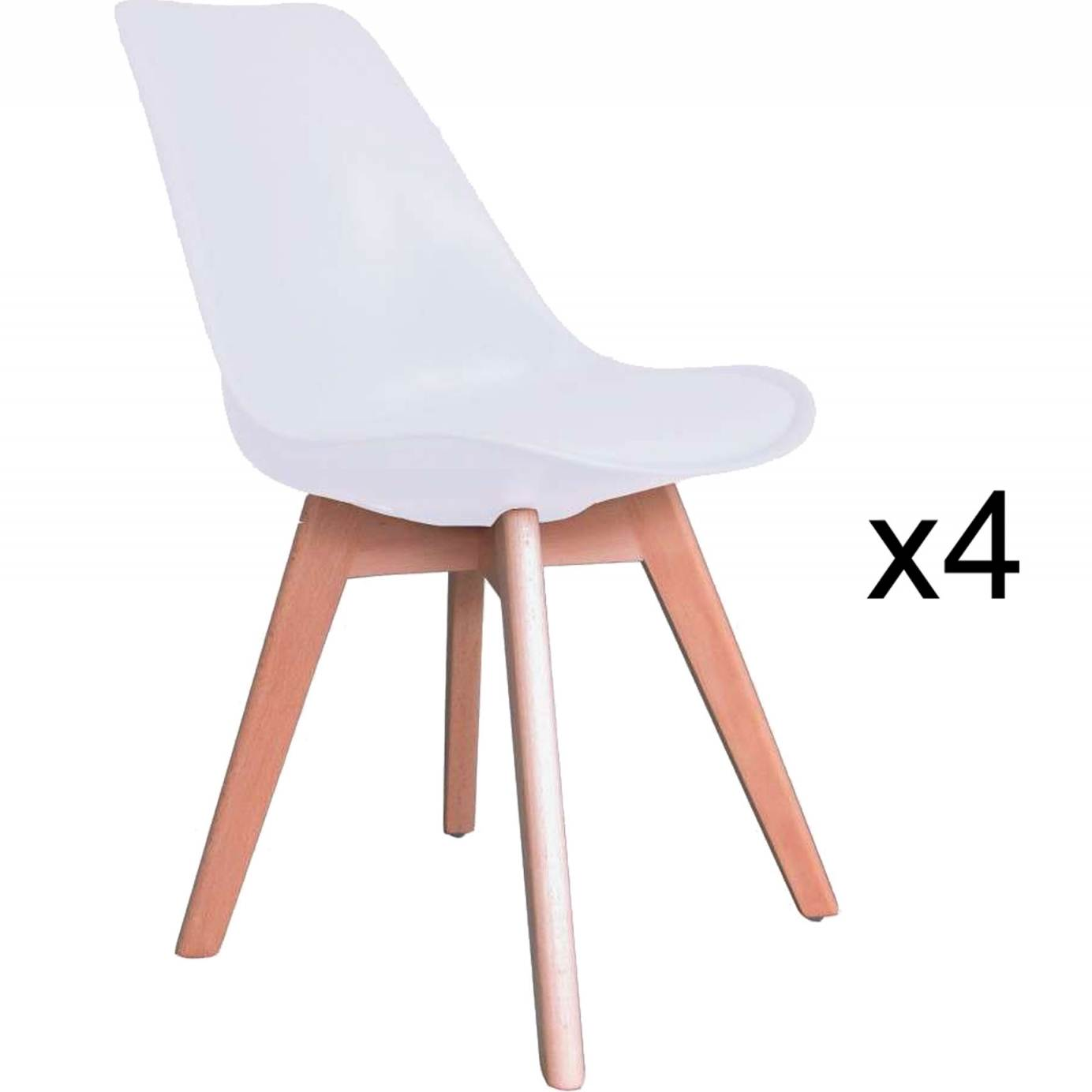 deco in paris 1 lot de 4 chaises scandinave blanc gala gala blanc x4. Black Bedroom Furniture Sets. Home Design Ideas