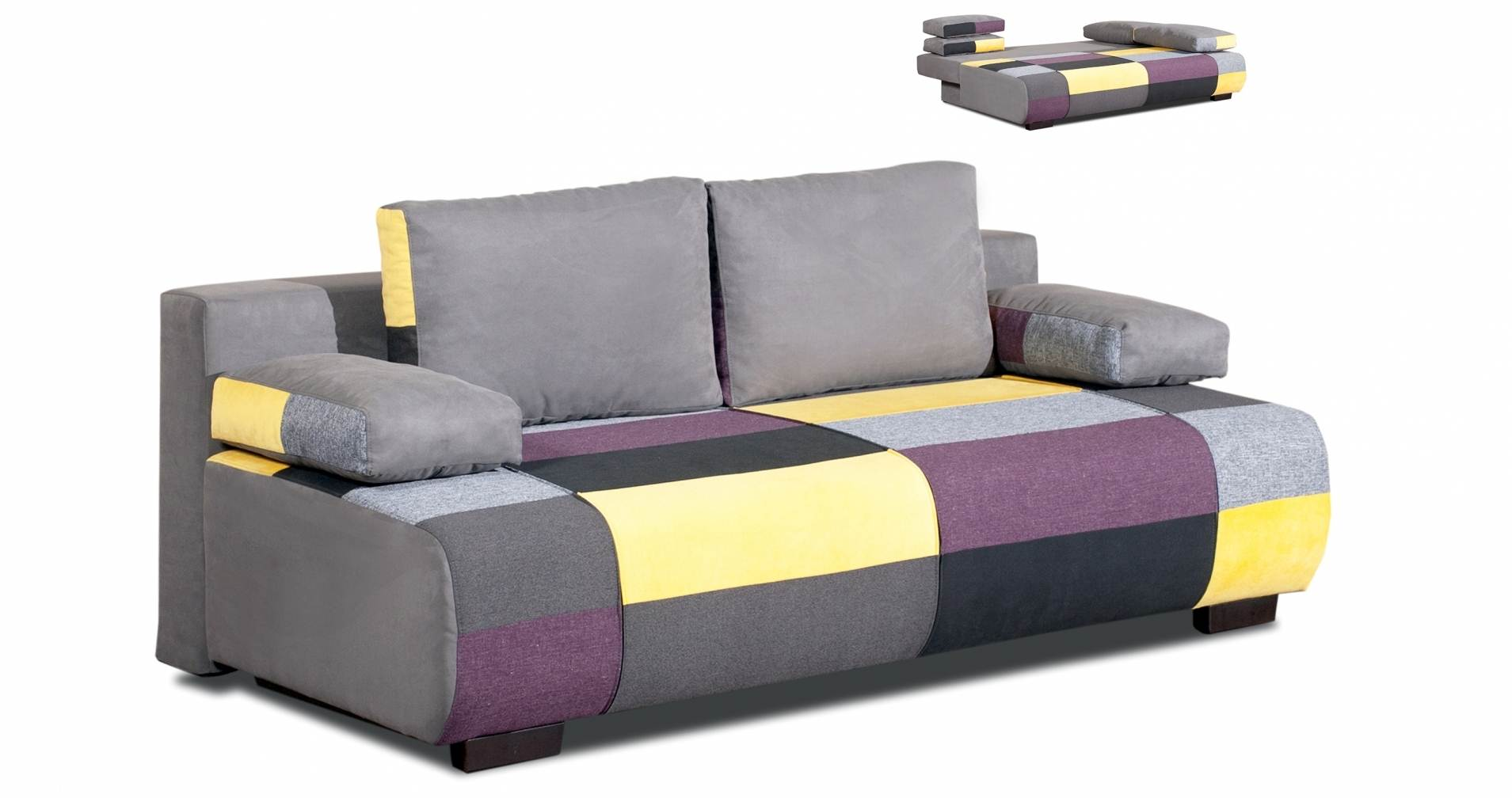 Deco in paris canape 3 places convertible en tissu jaune for Canape en l convertible