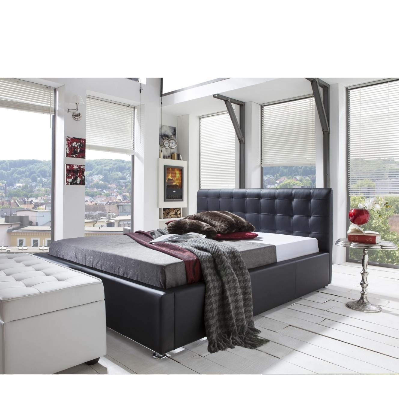 deco in paris lit capitonne en cuir 160x200 cm adriana adriana 160x200. Black Bedroom Furniture Sets. Home Design Ideas