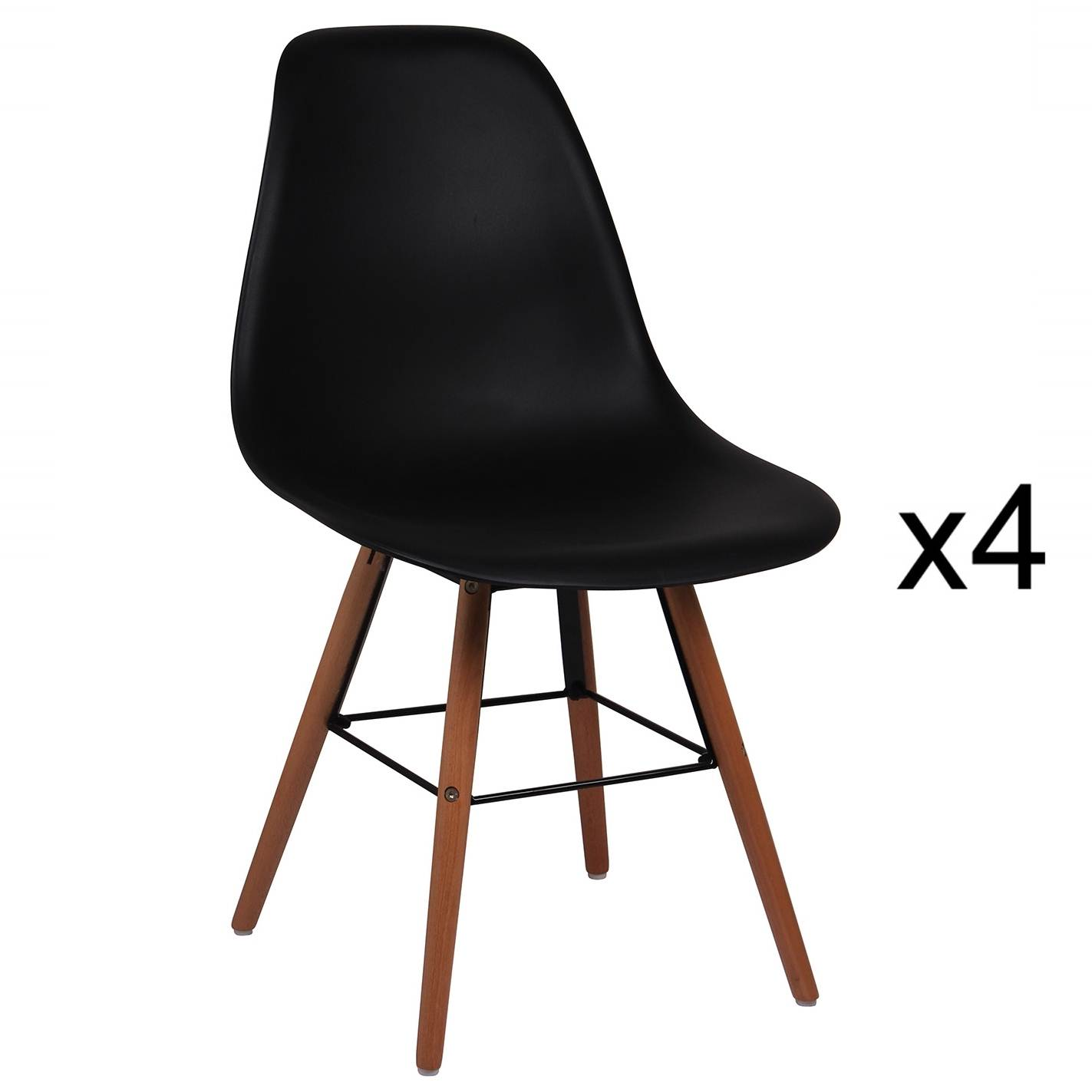 Lot de 4 chaises design noir NINA