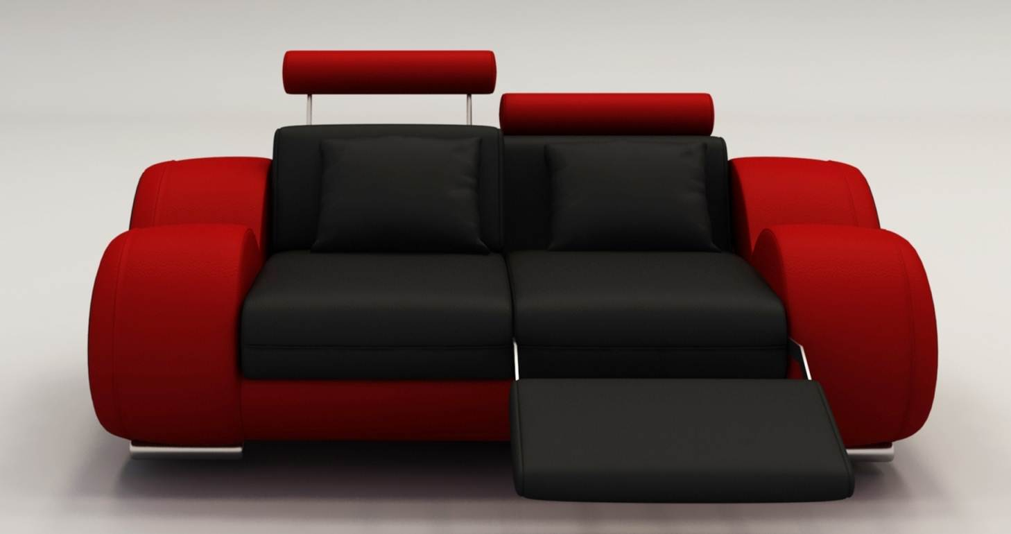 Deco In Paris 8 Canape 2 Places Design Relax Oslo En Cuir Noir Et Rouge Oslo 2pl Noir Rouge