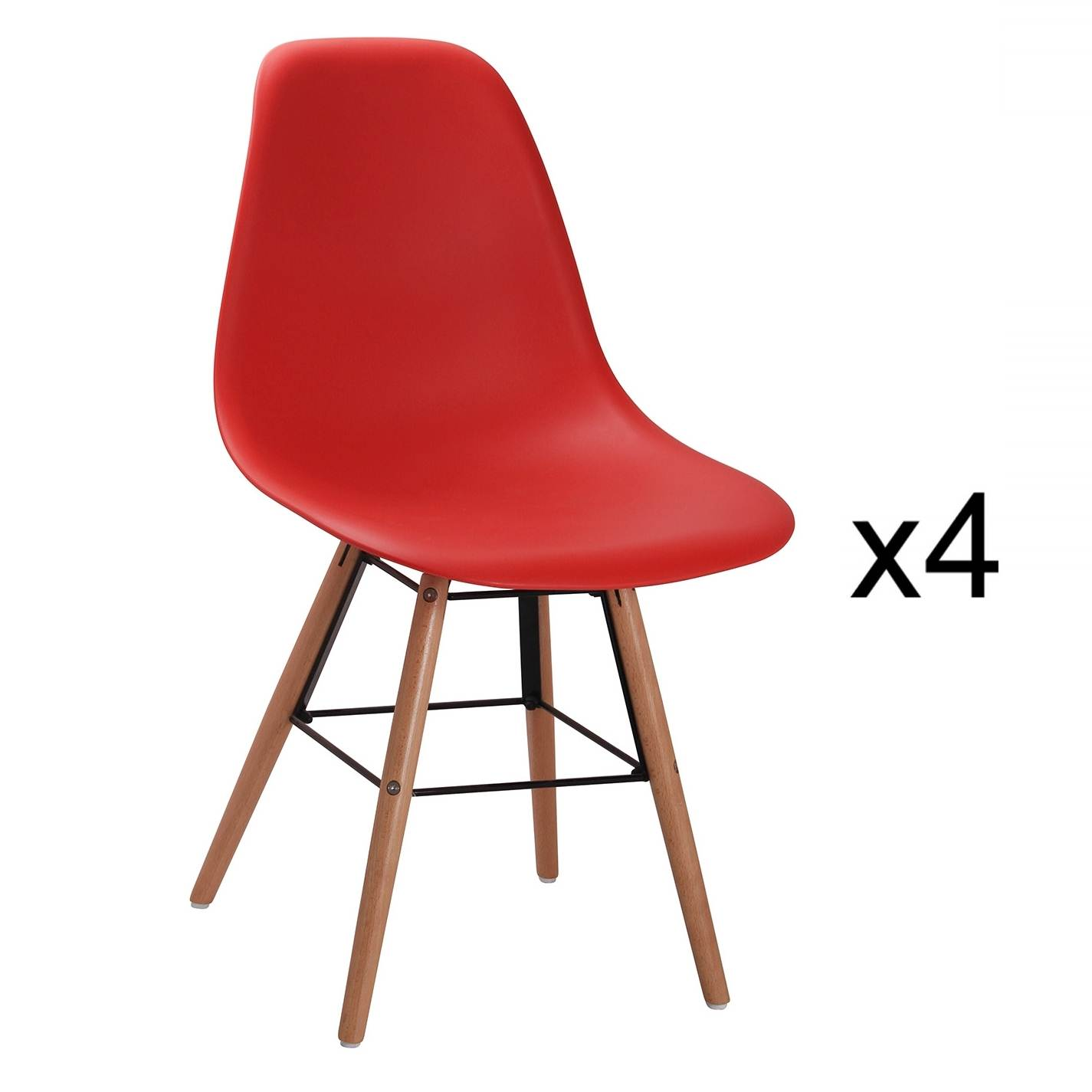 LOT DE 4 CHAISES DESIGN ROUGE NINA