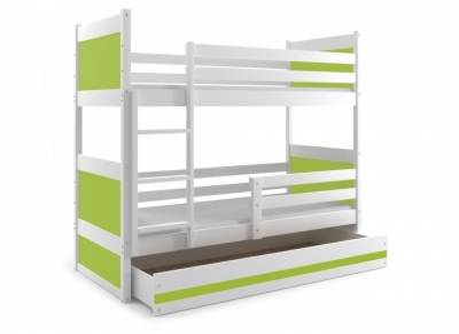 deco in paris lits superposes blanc et vert 200 x 90 cm kiko kiko blanc vert. Black Bedroom Furniture Sets. Home Design Ideas