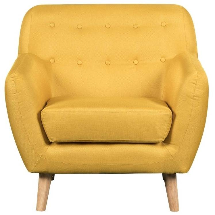 deco in paris 8 fauteuil capitonne scandinave en tissu jaune viky fauteuil viky jaune. Black Bedroom Furniture Sets. Home Design Ideas