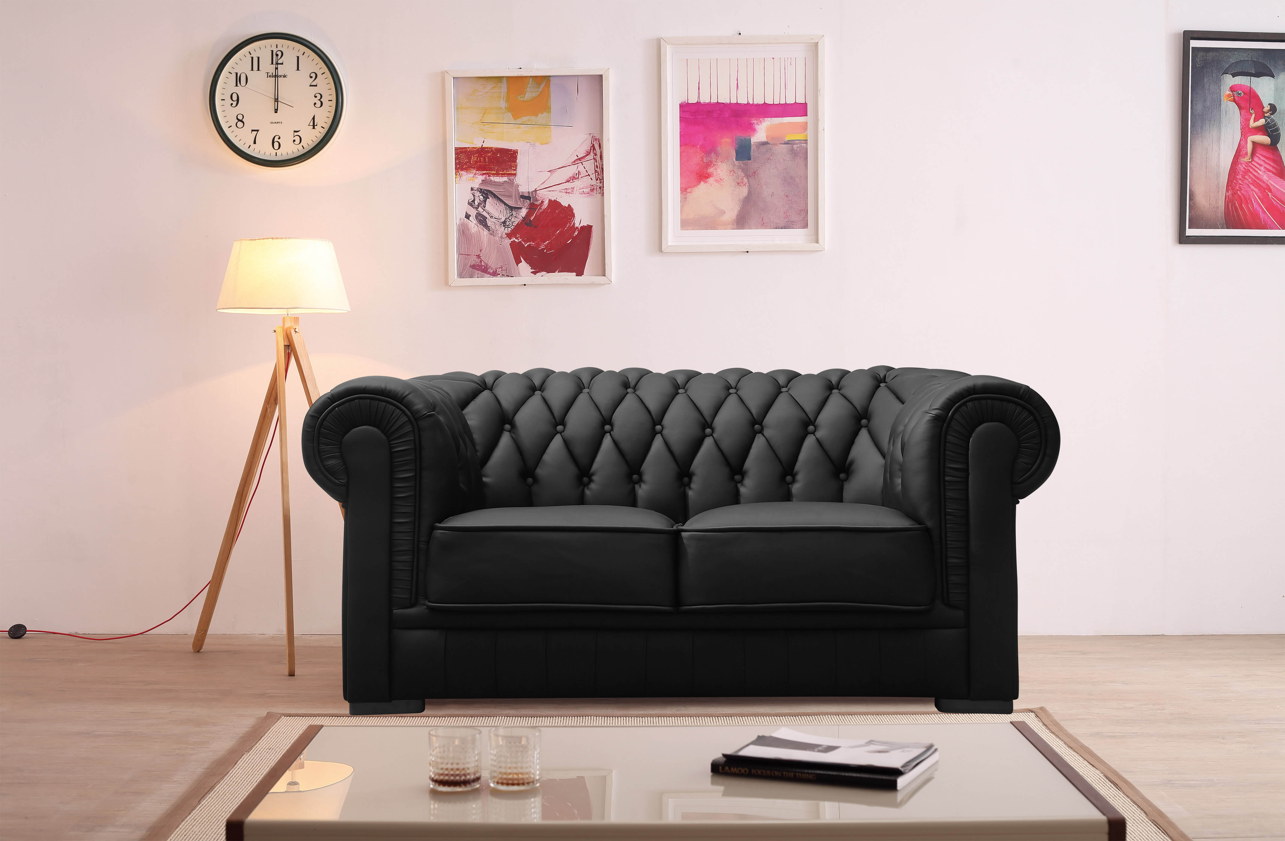 Ensemble capitonné en cuir noir Chesterfield 3+2 places