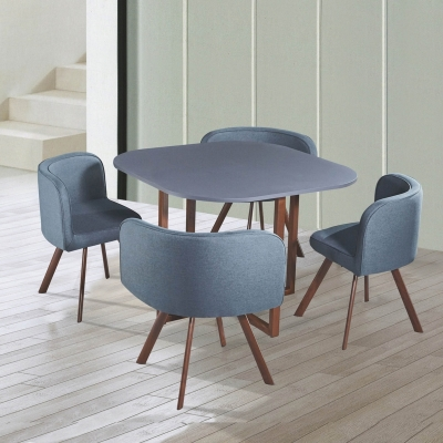 Ensemble table + 4 chaises encastrables gris FLEN