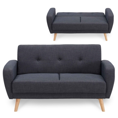 Canapé 2 places convertible scandinave gris anthracite SILO