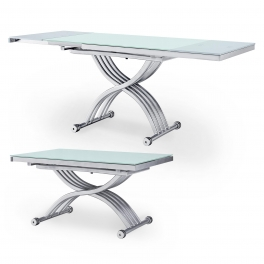 Table basse relevable blanche 2 allonges grises STUDIO