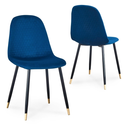 Lot de 2 chaises scandinaves design en velours bleu WANDA
